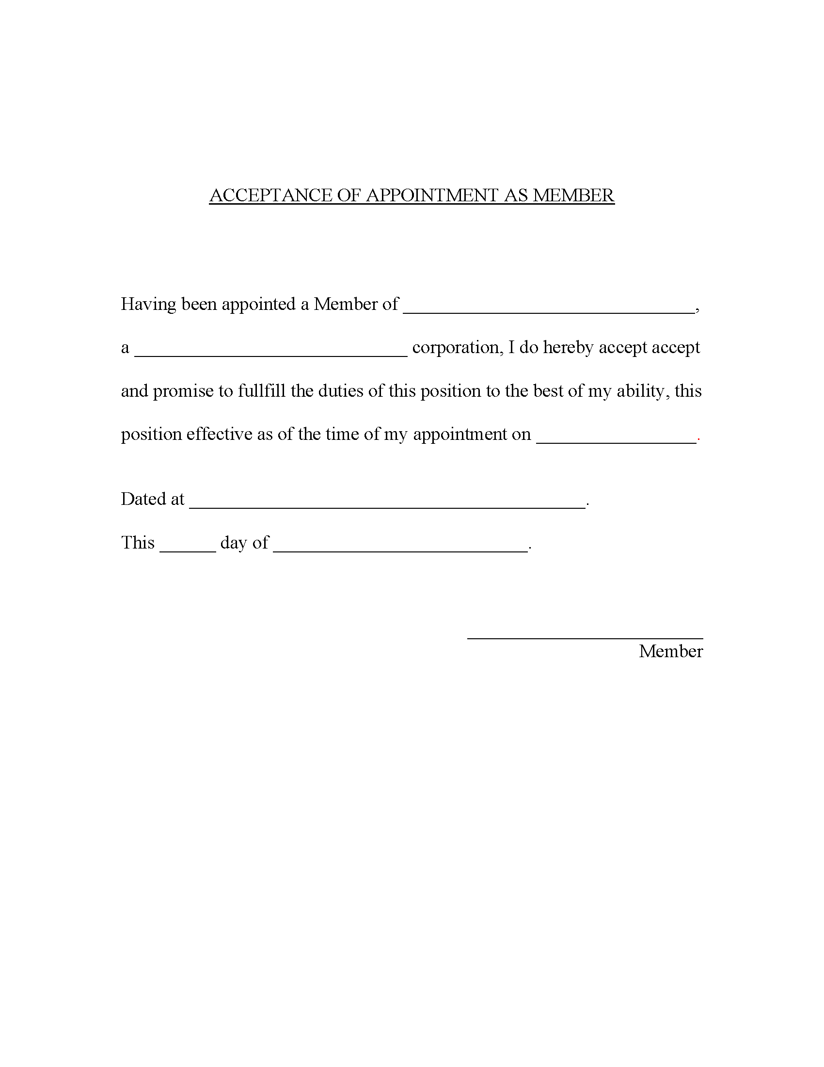 Acceptance of Appointment as Member