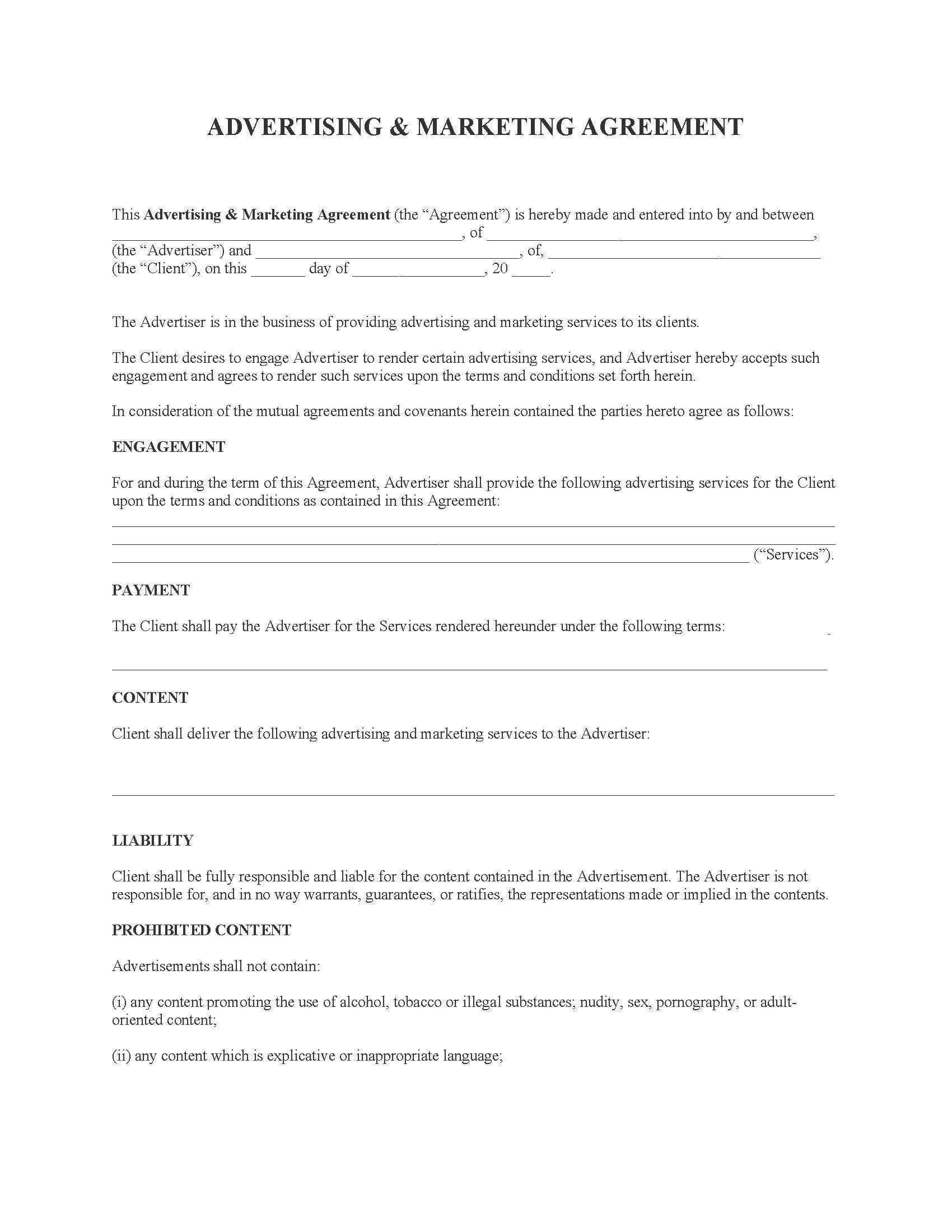 Advertising & Marketing Agreement