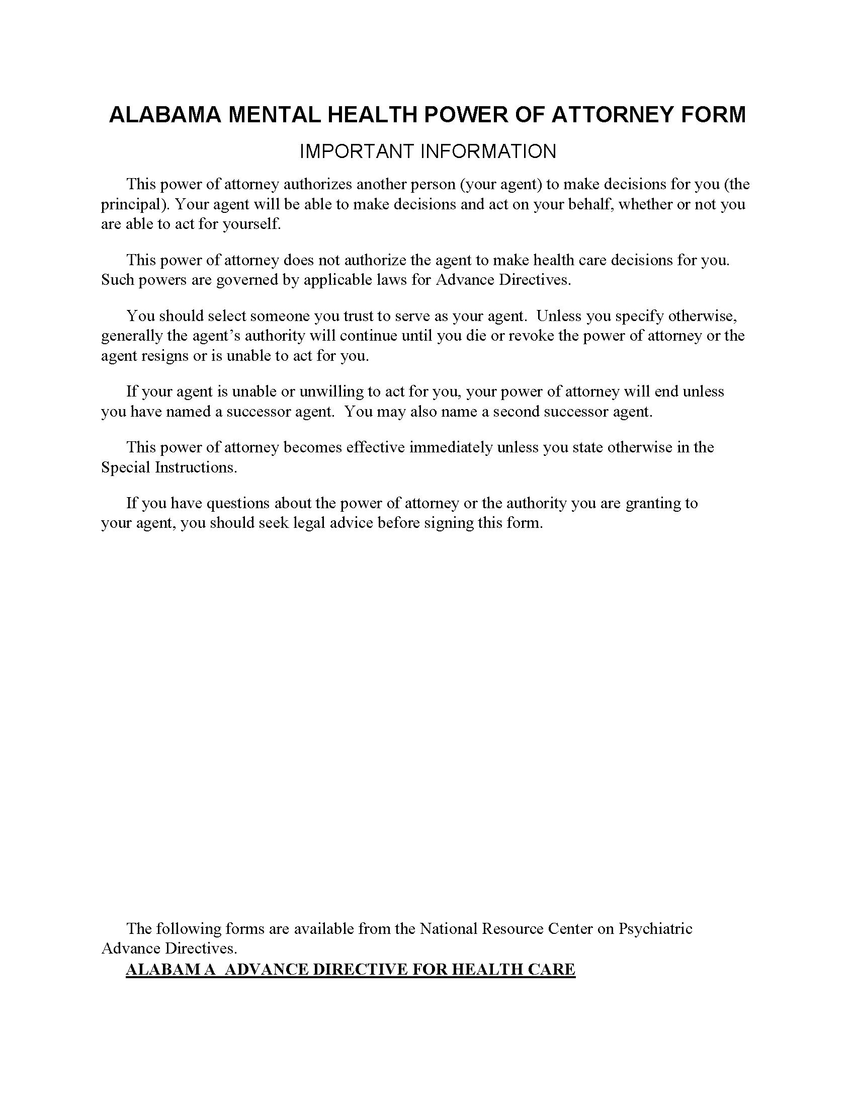 Alabama Mental Health Power of Attorney
