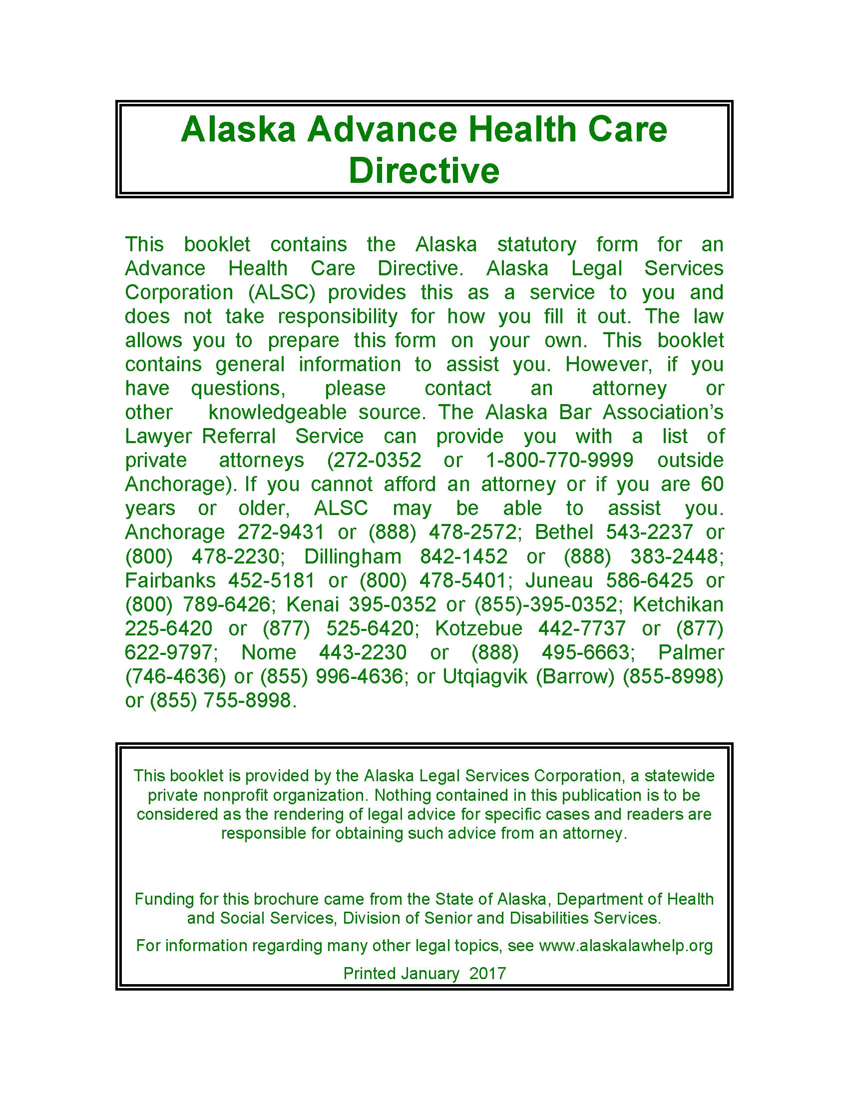 Alaska Advance Directive For Health Care