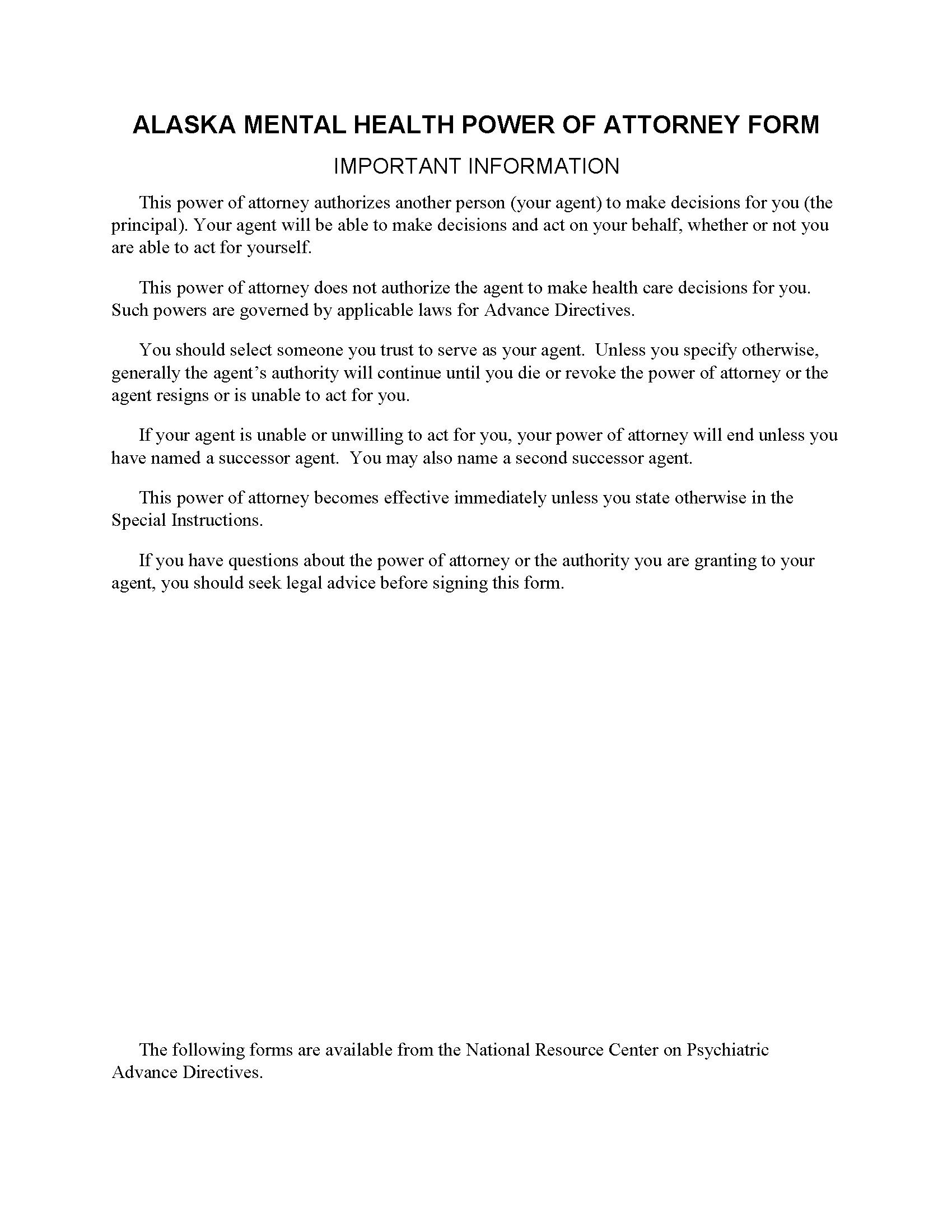 Alaska Mental Health Power of Attorney