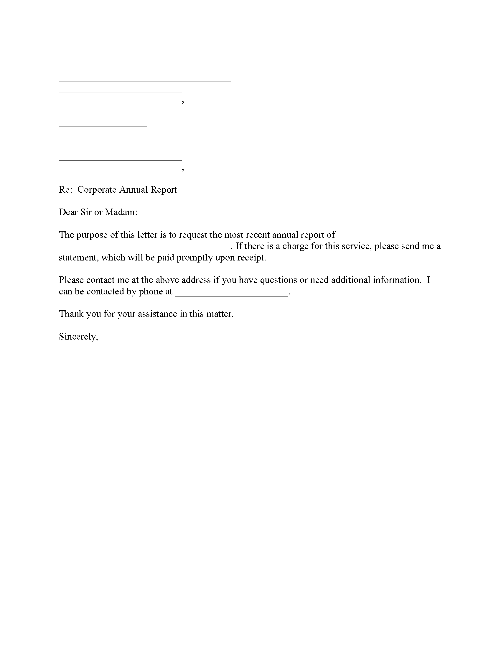 Annual Corporate Report Request
