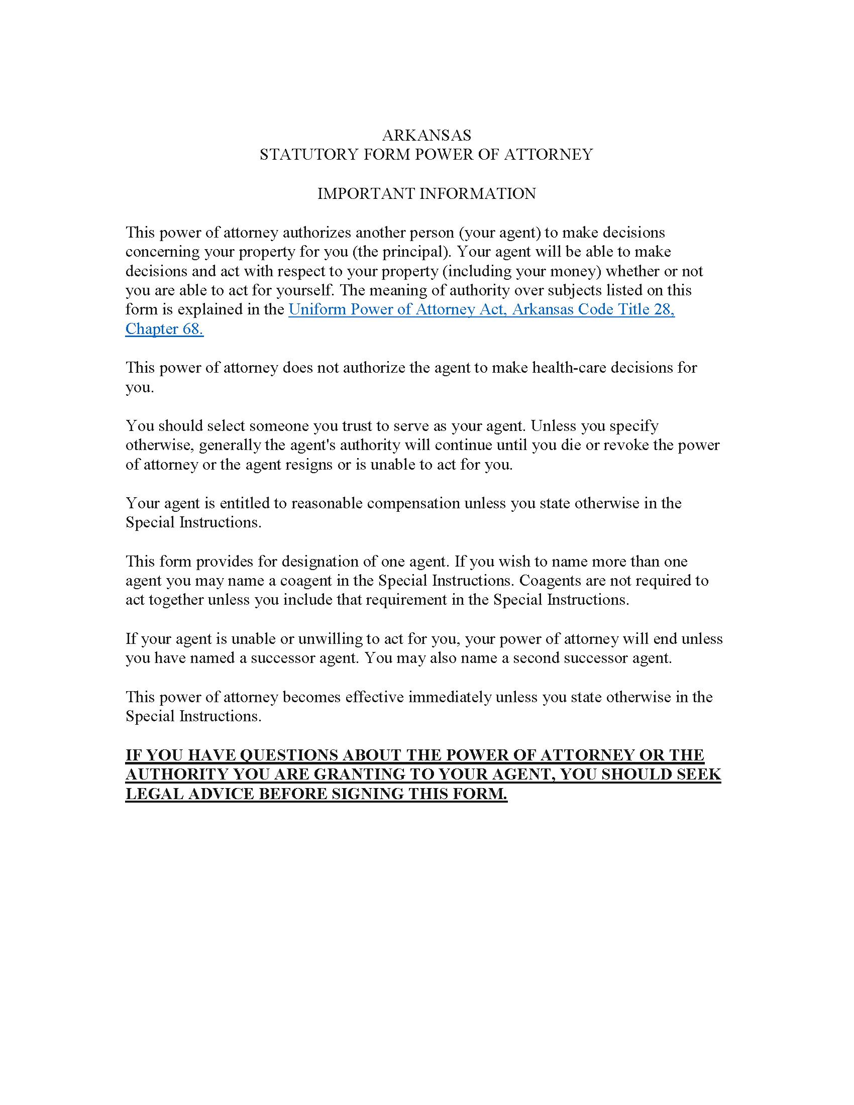 Arkansas Financial Power of Attorney Form