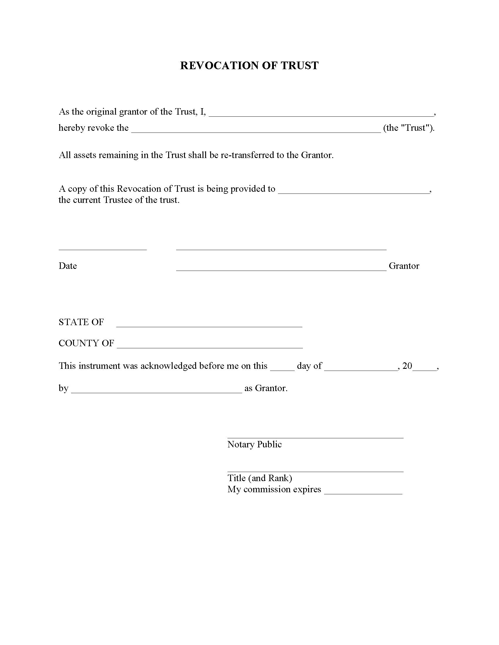 Arkansas Revocation of Trust Form