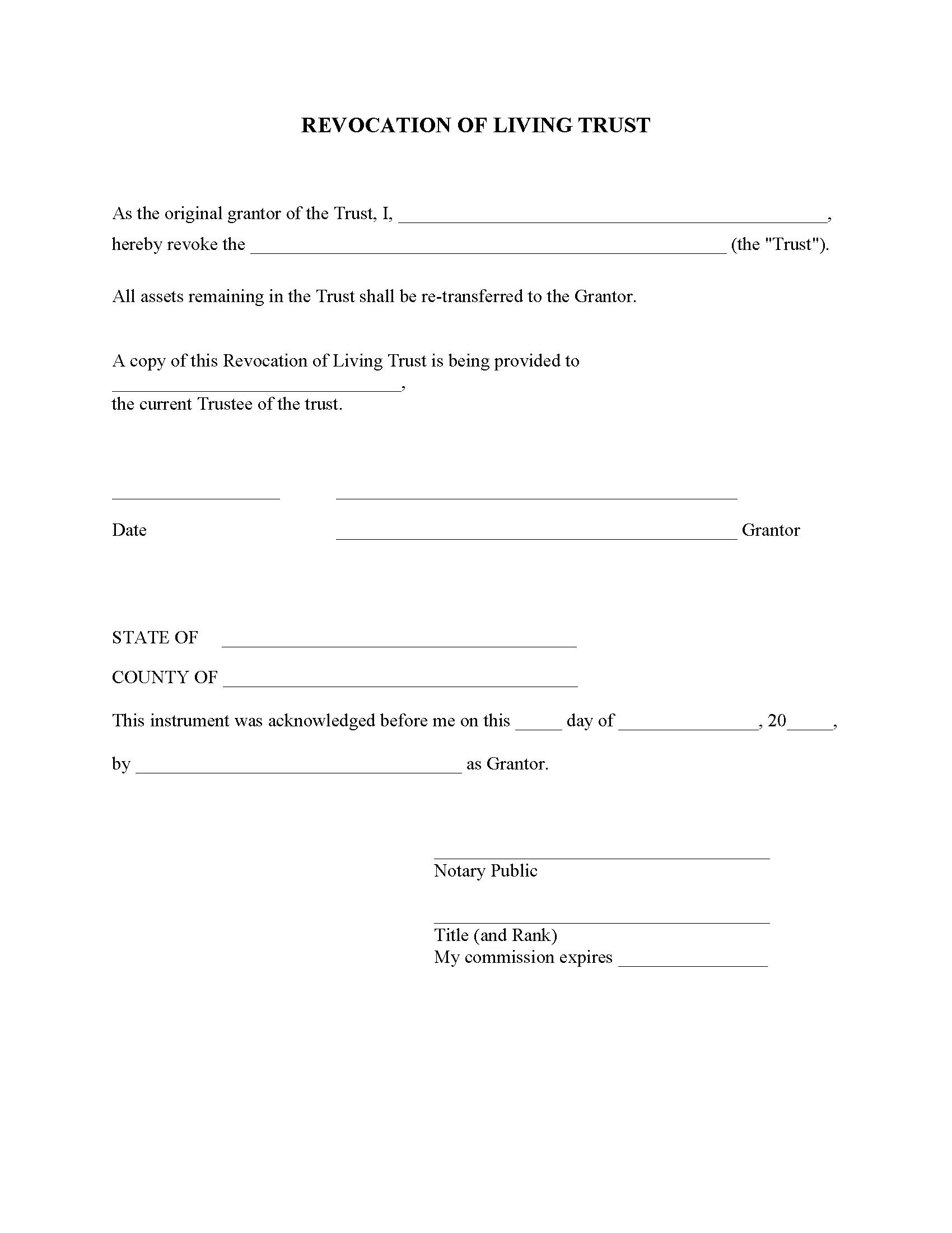 Arkansas Revocation of Living Trust Form