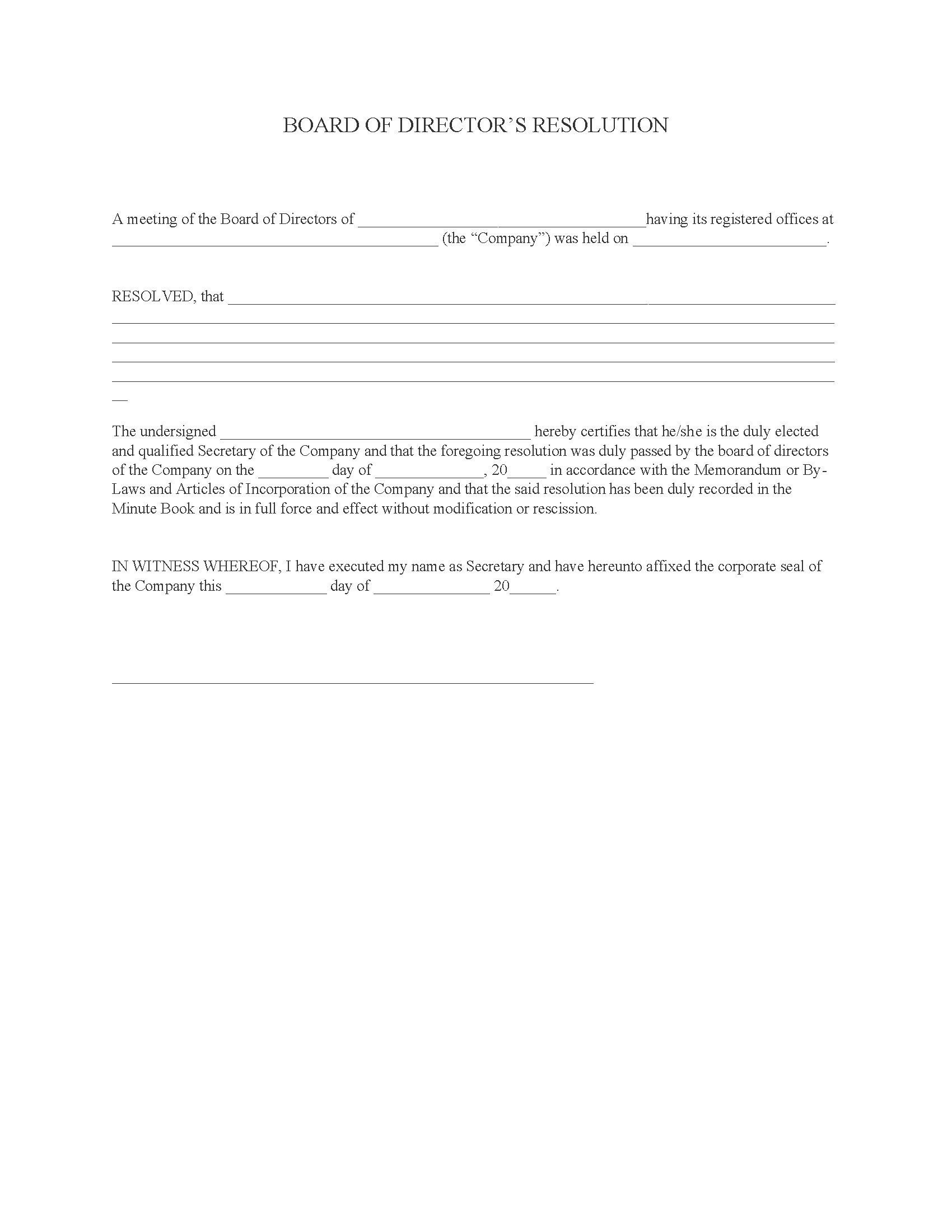 Board of Directors Resolution