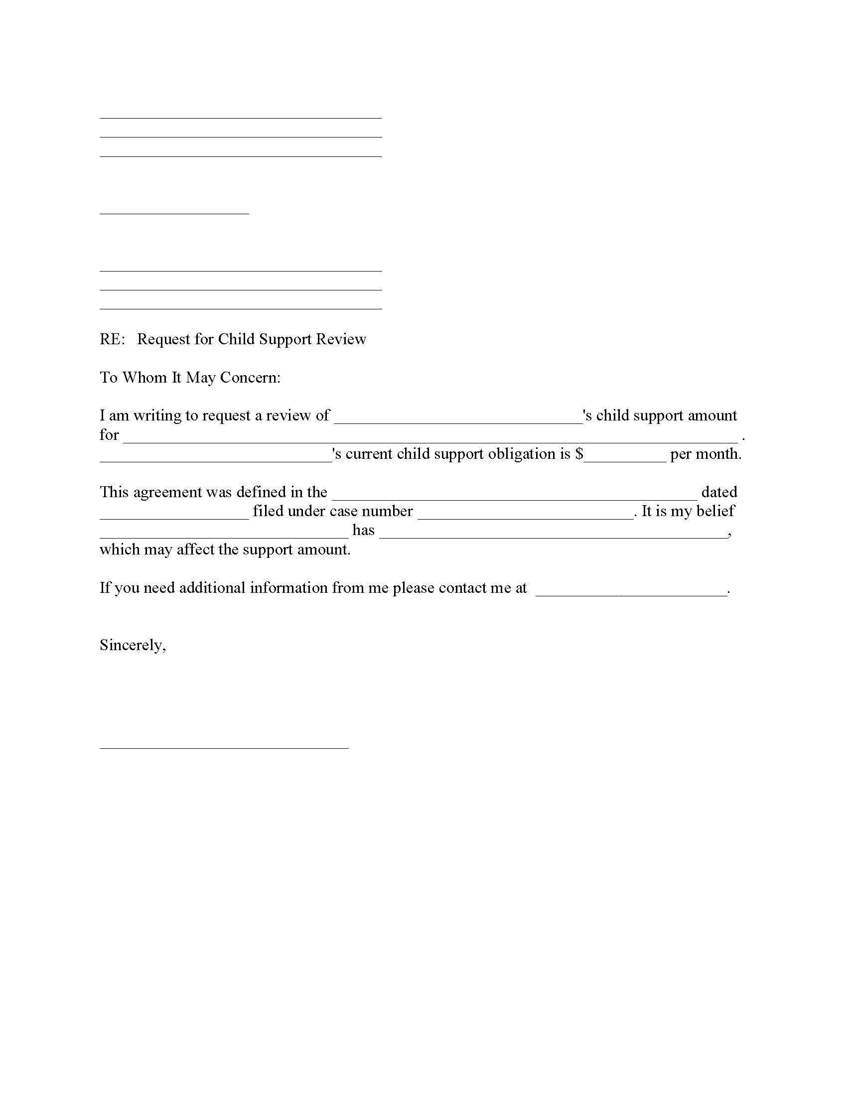 Child Support Review Request