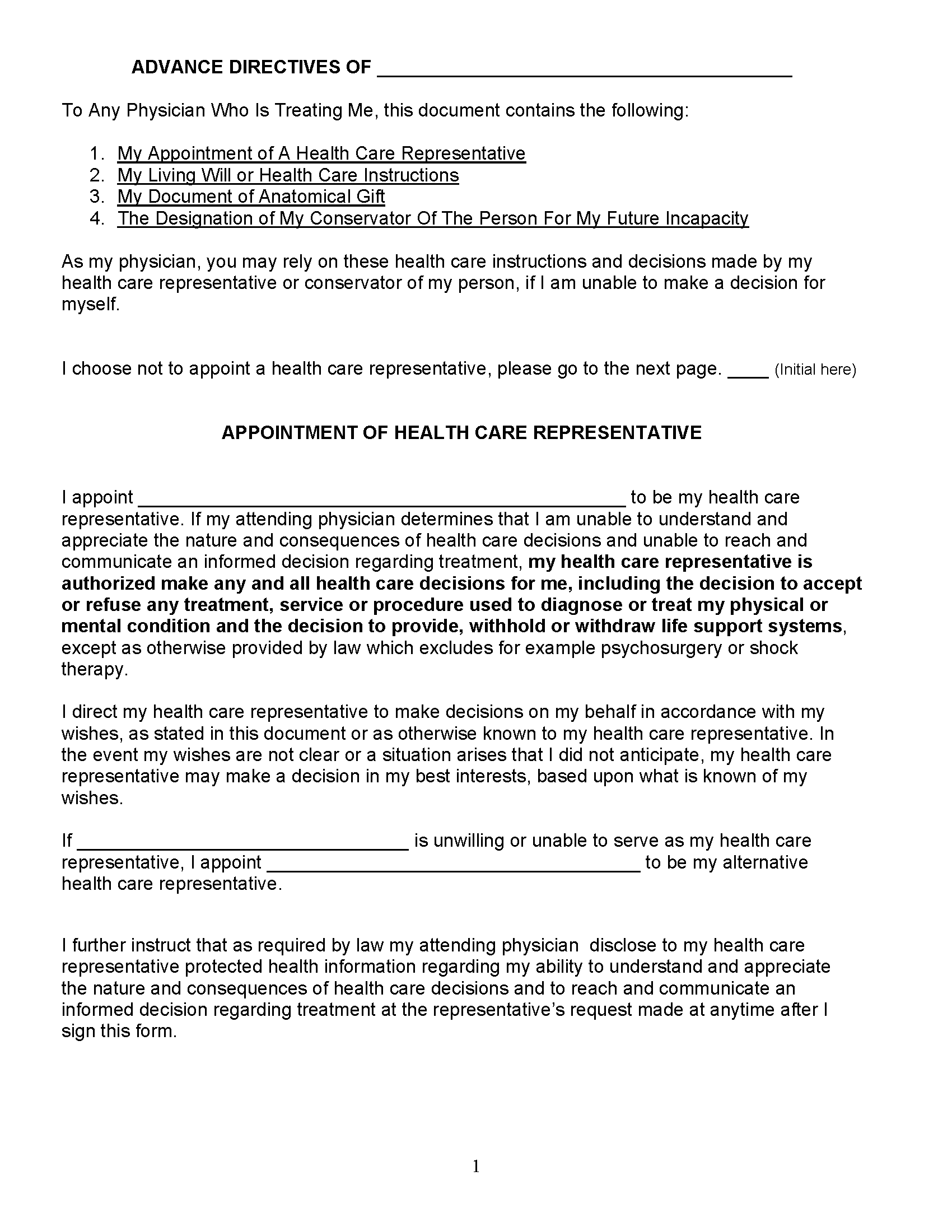 Connecticut Advance Directive For Health Care
