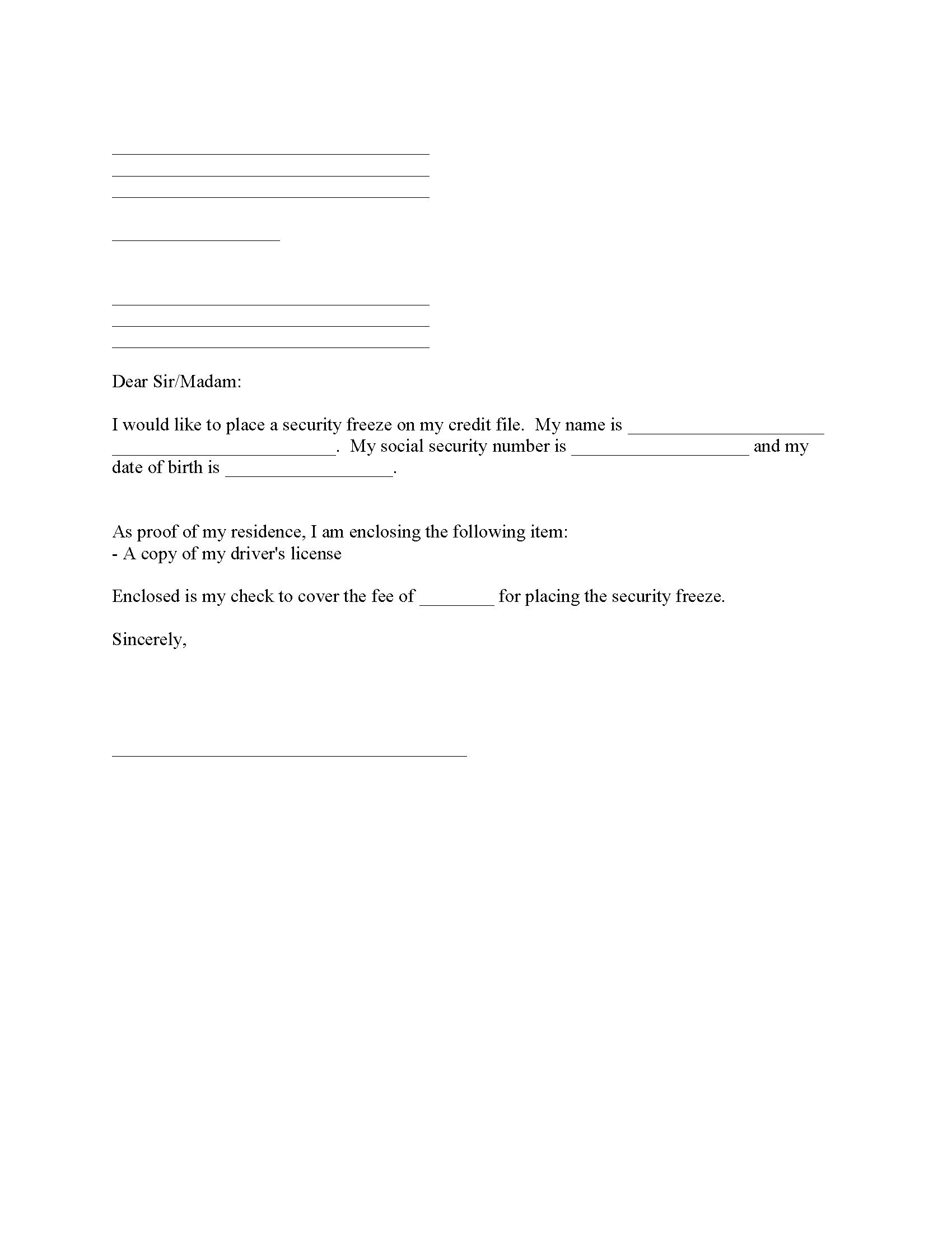 Credit Freeze Request Form