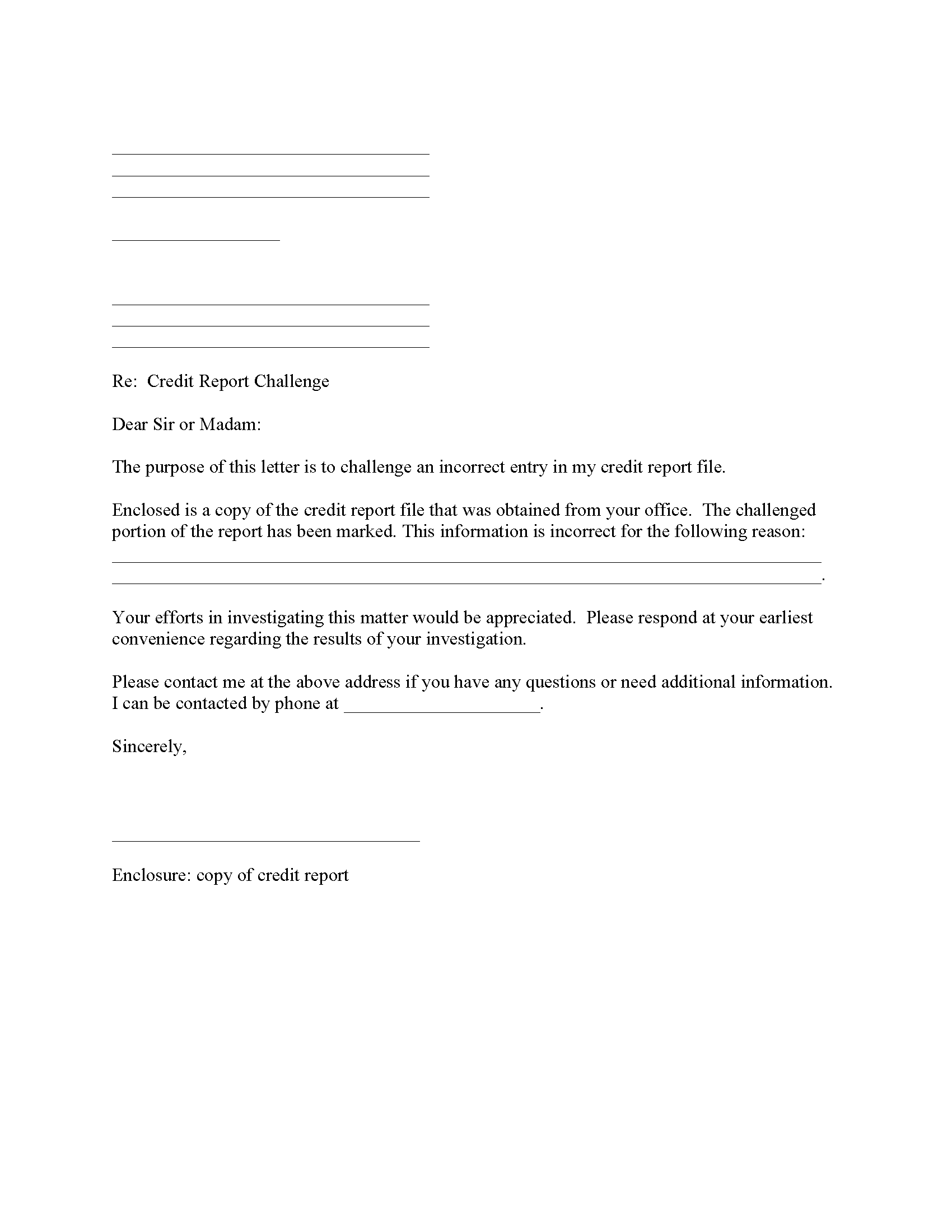 Credit Report Challenge
