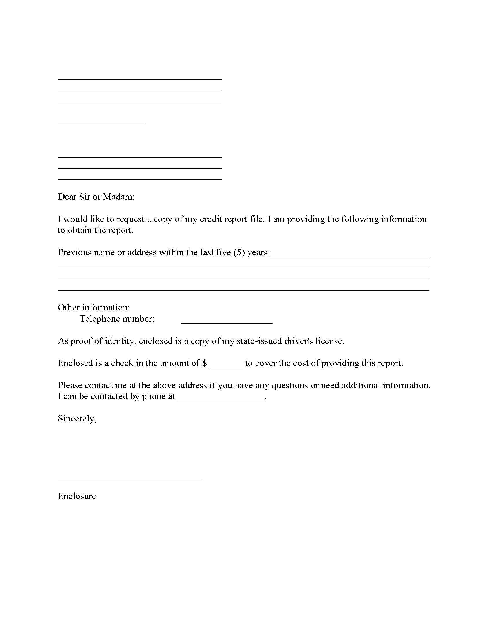 Credit Report Request Form