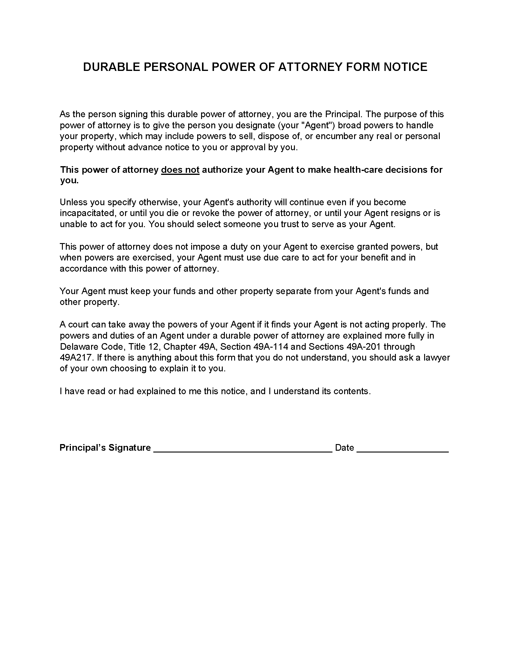 Delaware Durable Power of Attorney Form