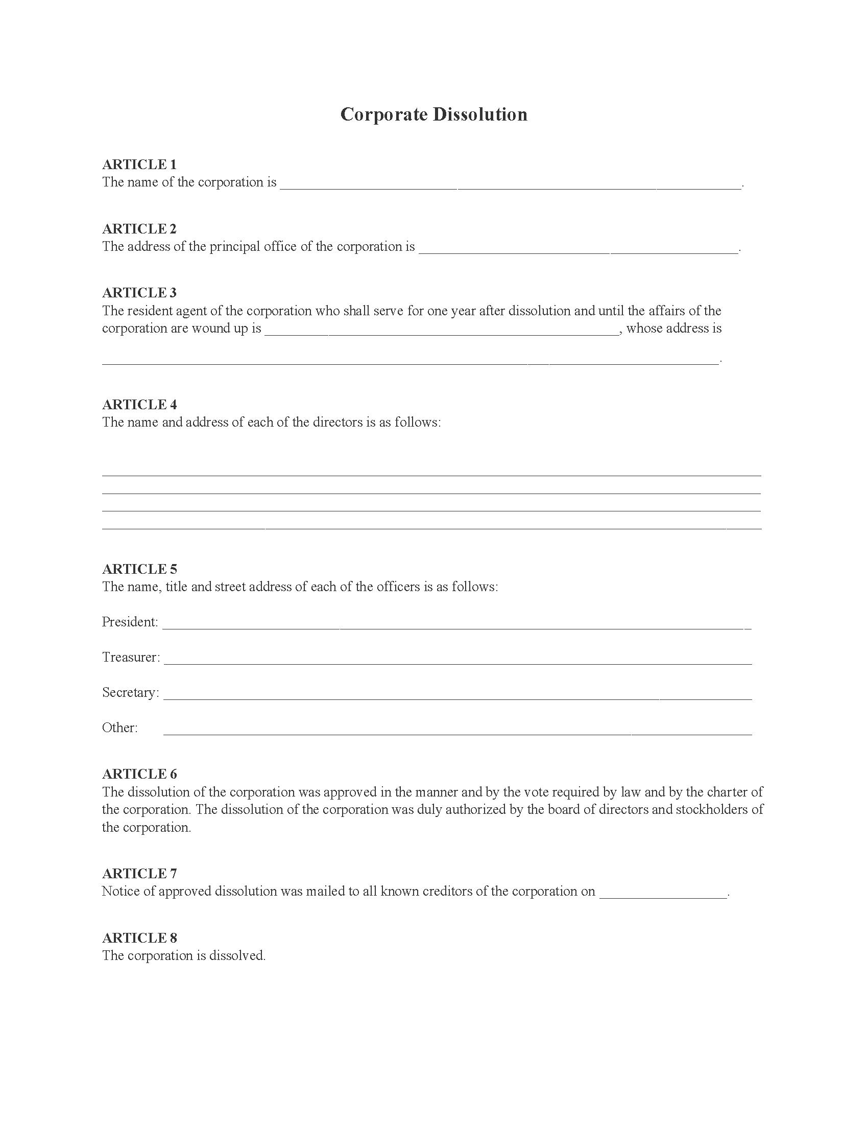 Dissolution of Corporation Notice