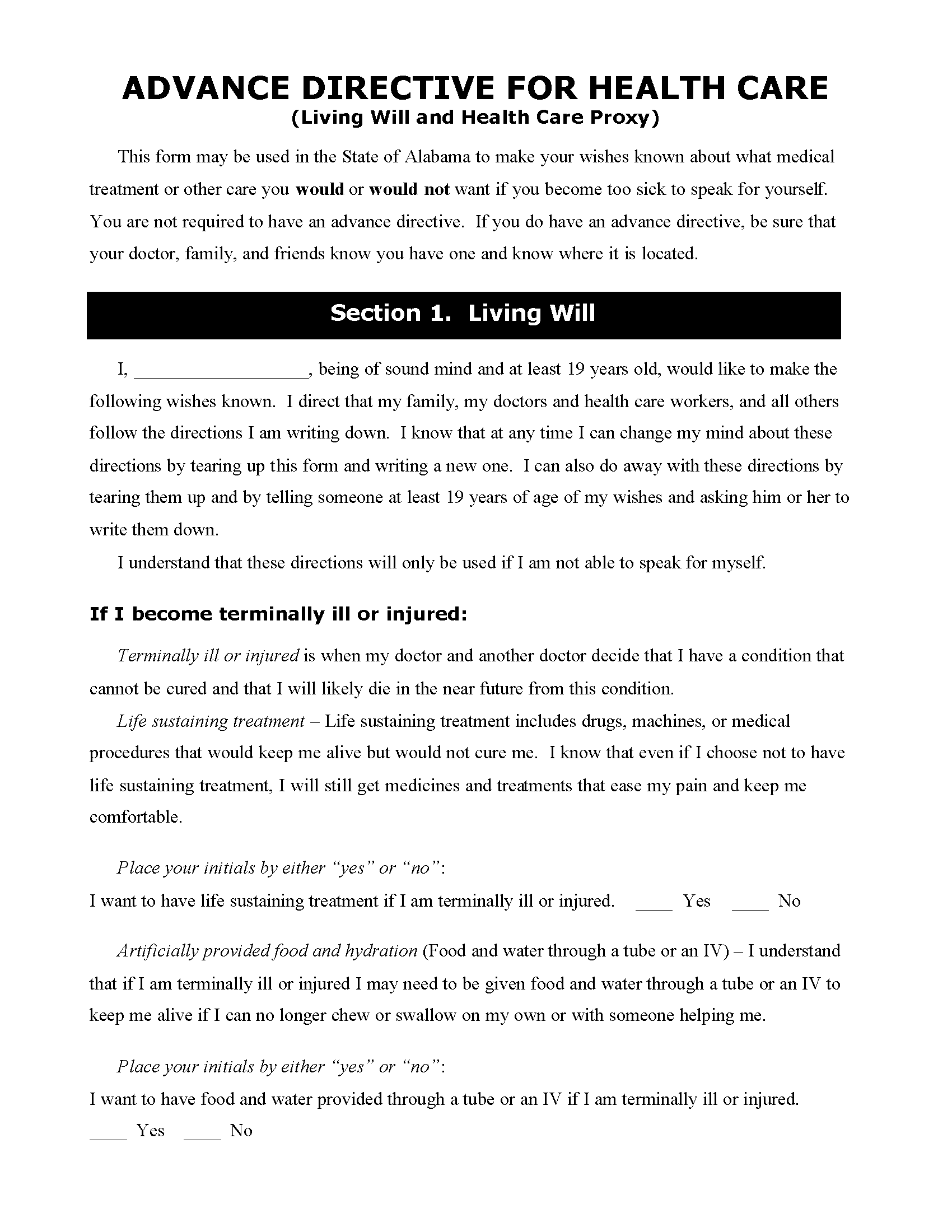 Durable Health Care Power of Attorney Form
