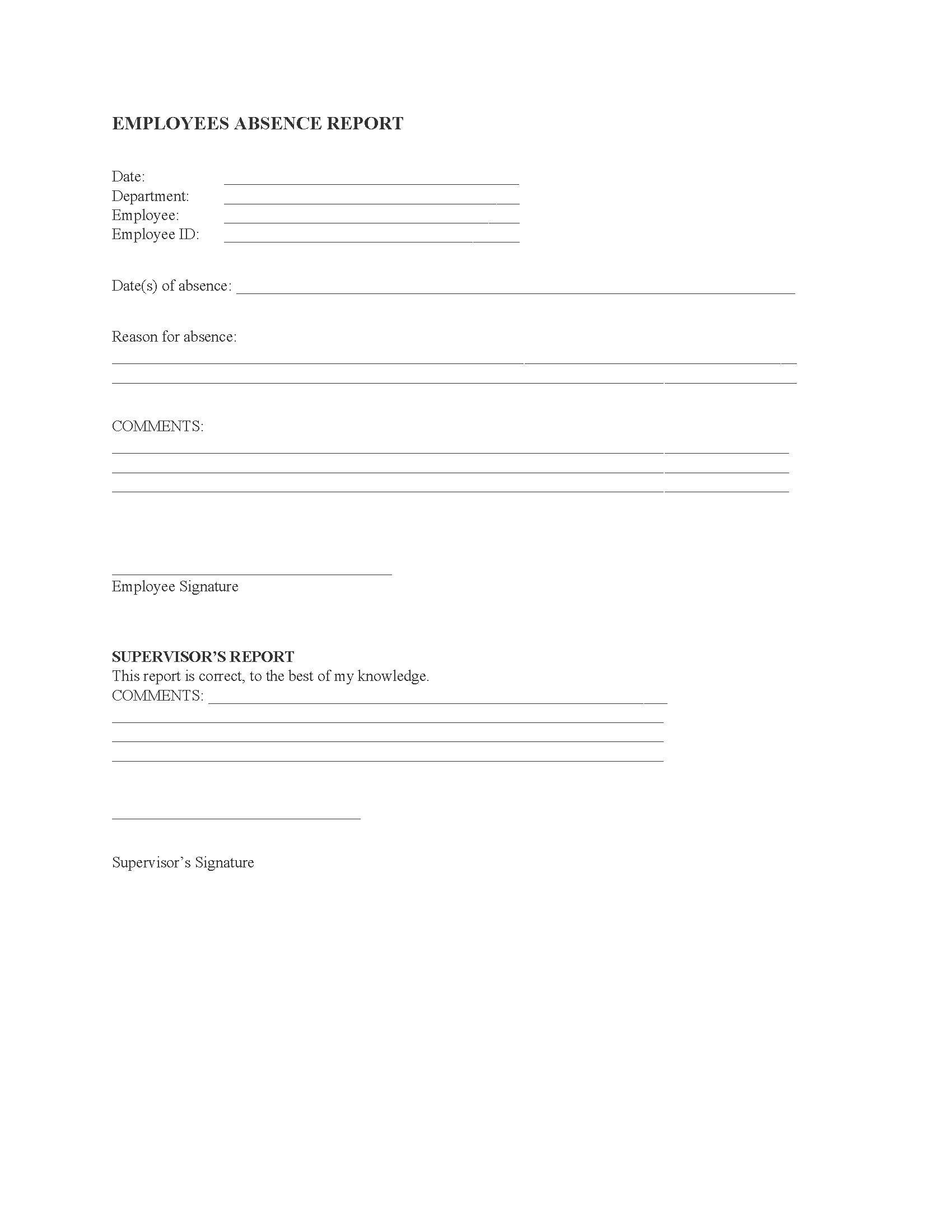 Employee Absence Report Form