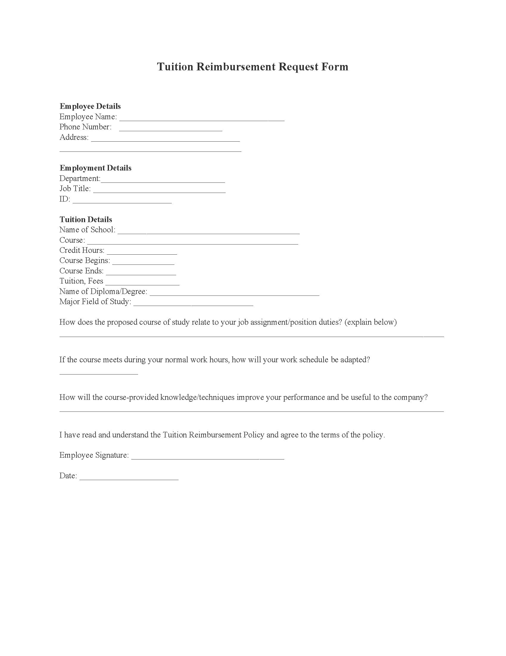 Employee Tuition Reimbursement Form