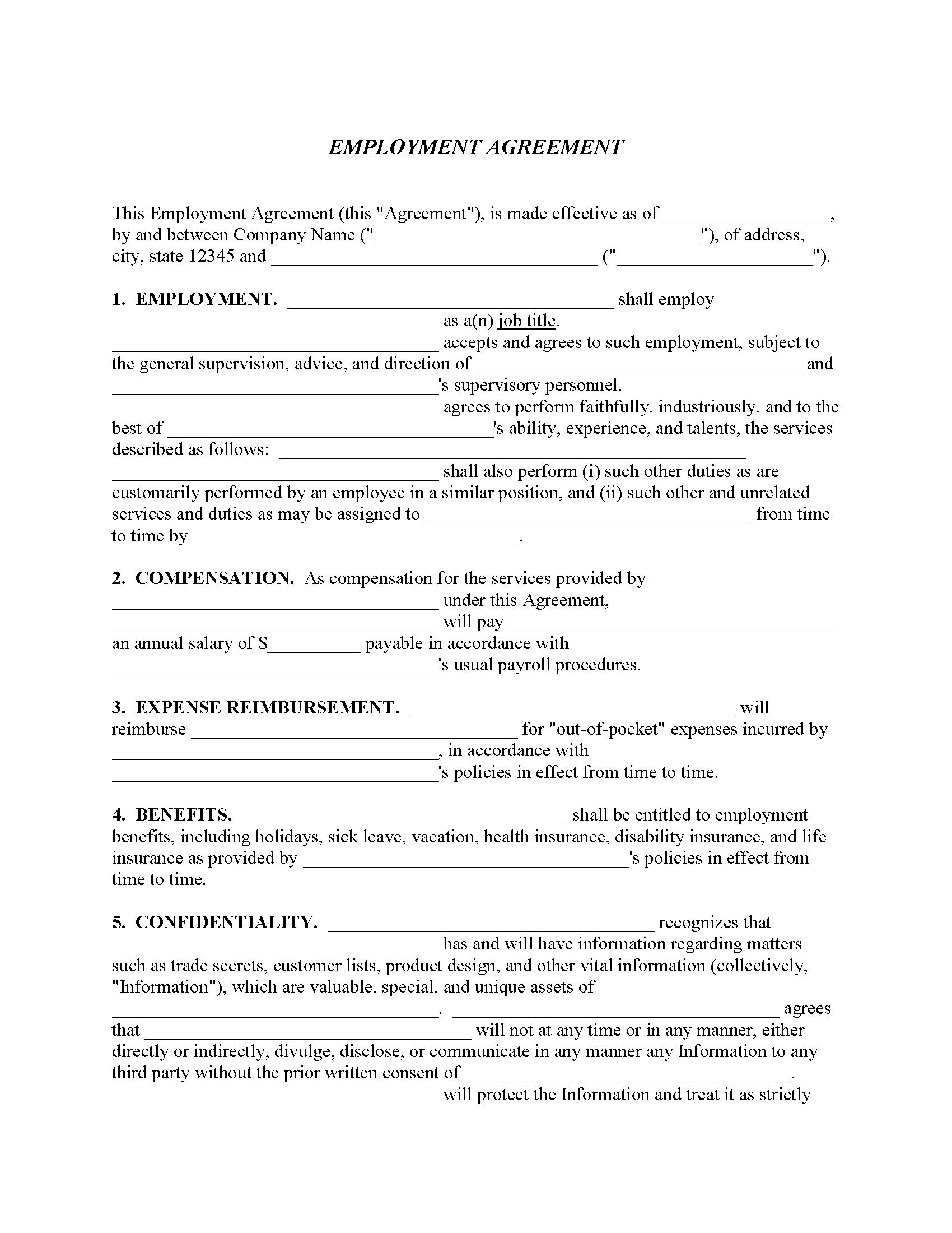 Employment Agreement Quick Form