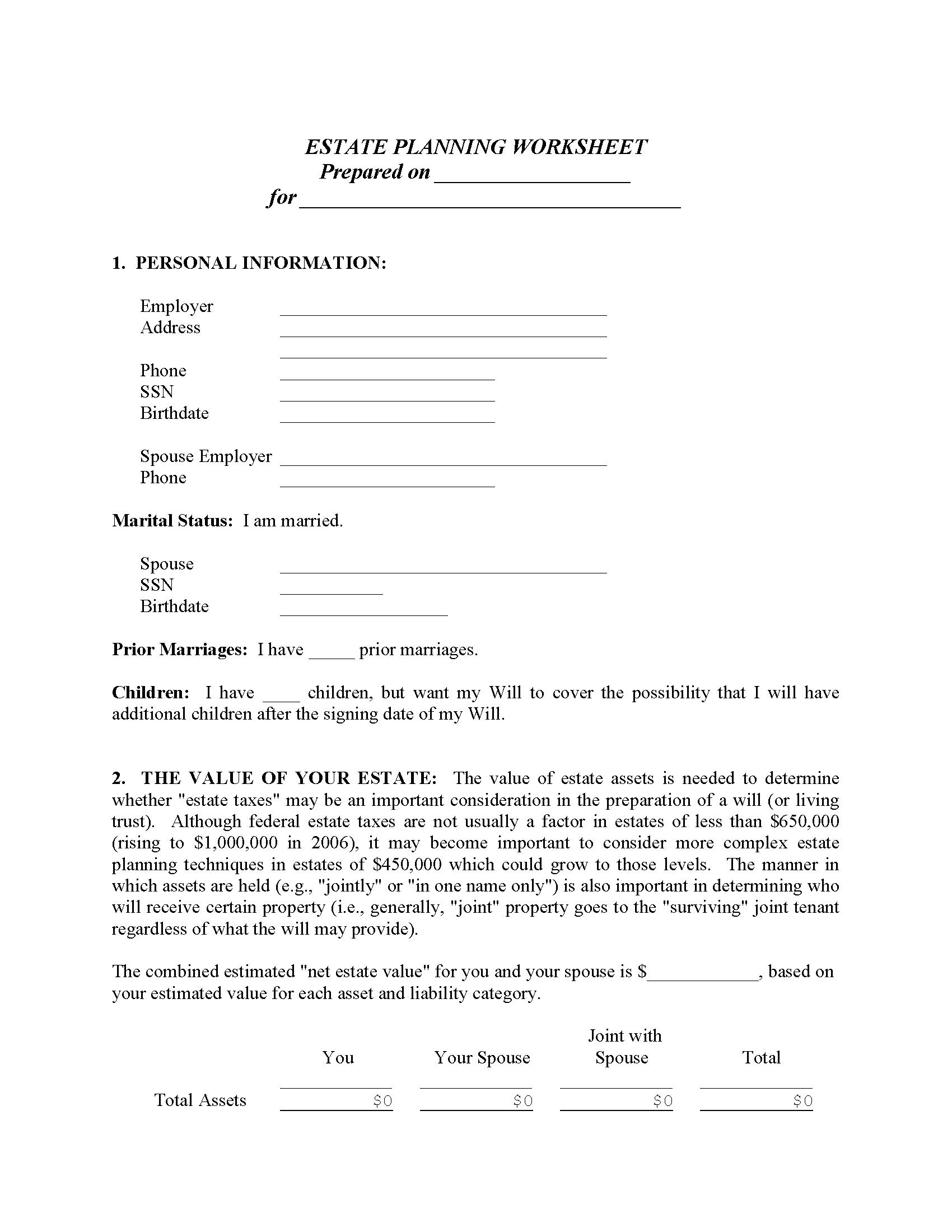 Estate Planning Form - Married