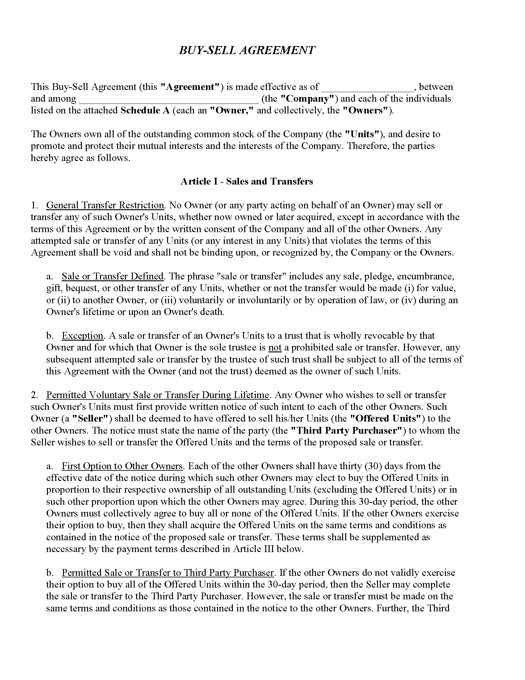 Buy-Sell Agreement Fillable PDF Form