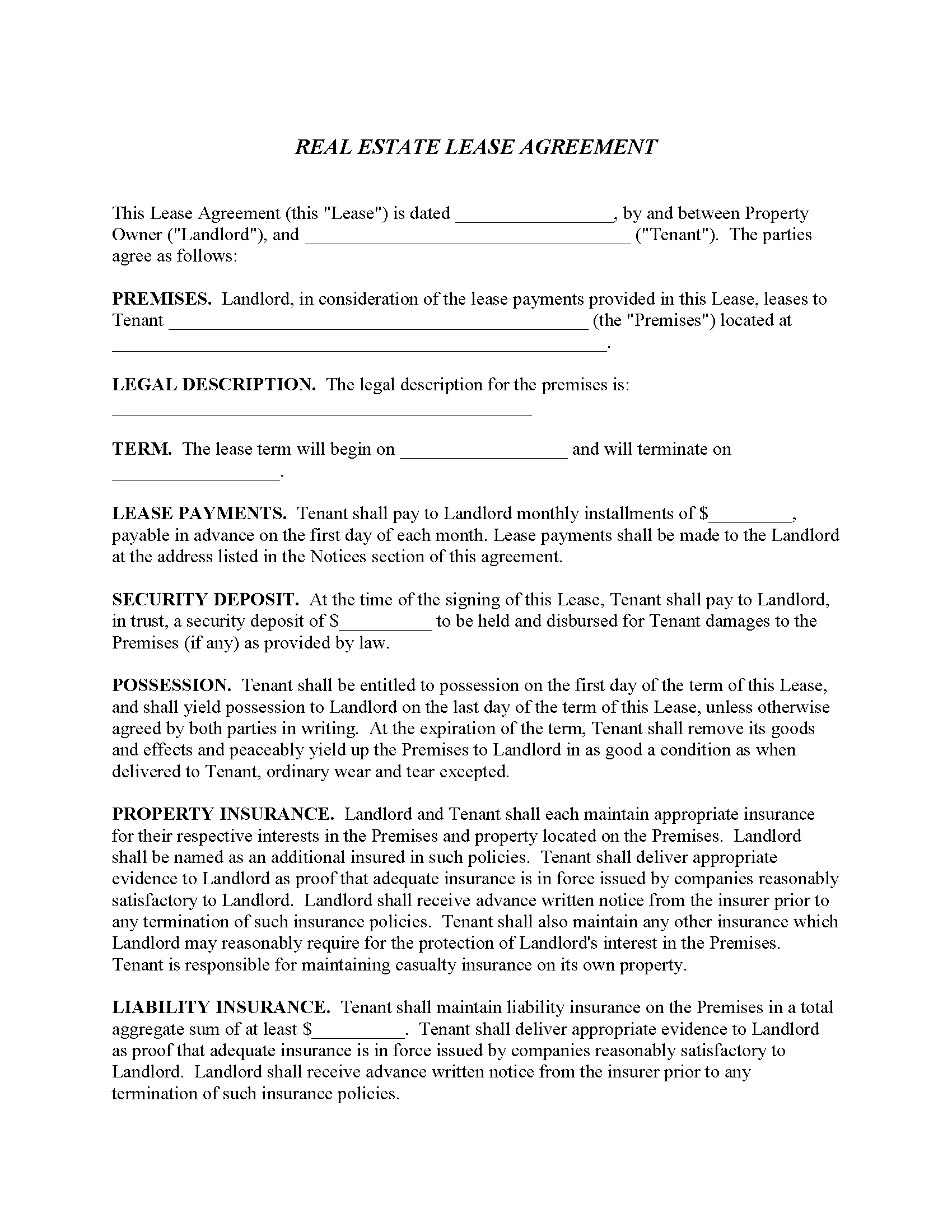 Commercial Property Lease Agreement Fillable PDF Form