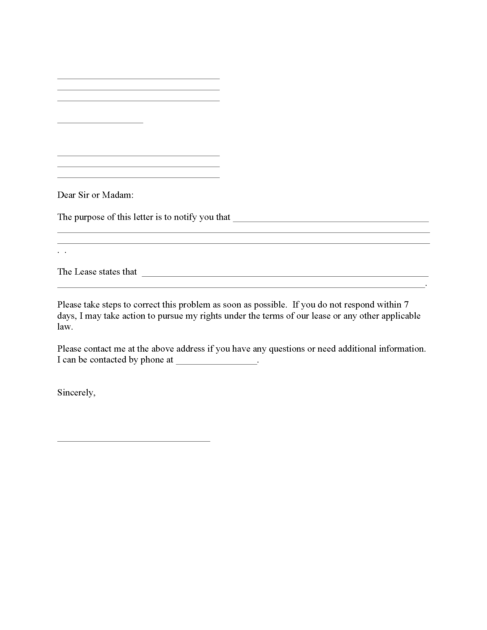 Complaint To Landlord Fillable PDF Form