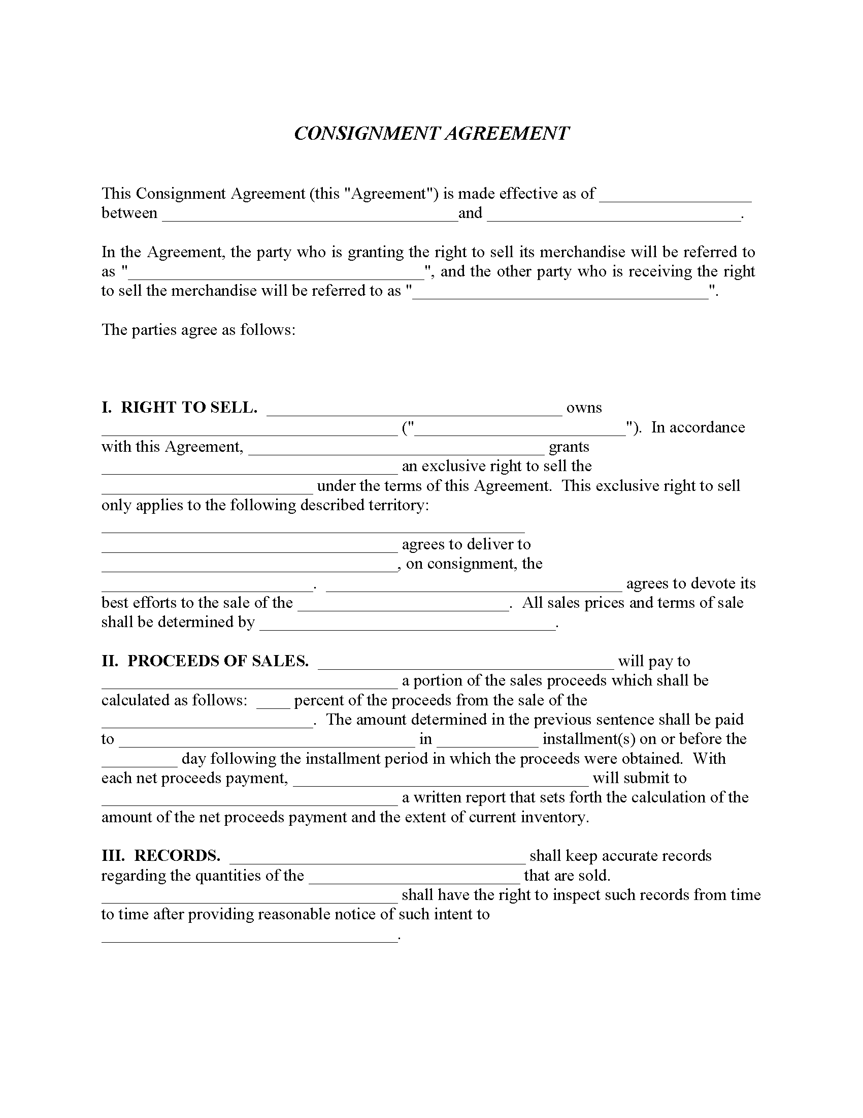 Consignment Agreement Fillable PDF Form