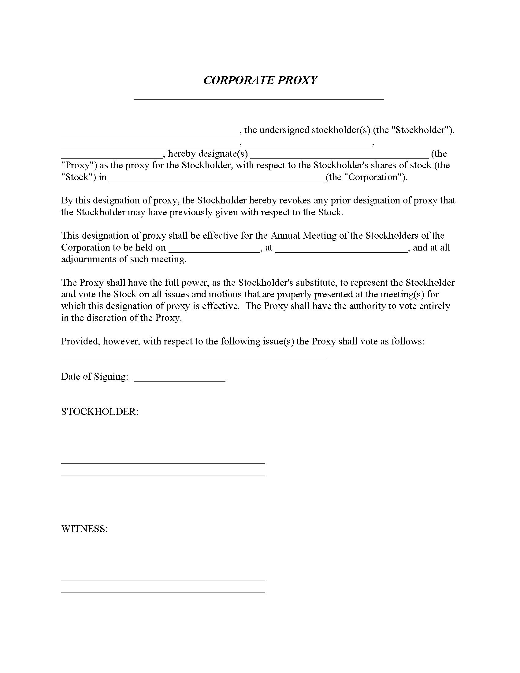 Corporate Proxy Form Fillable PDF Form