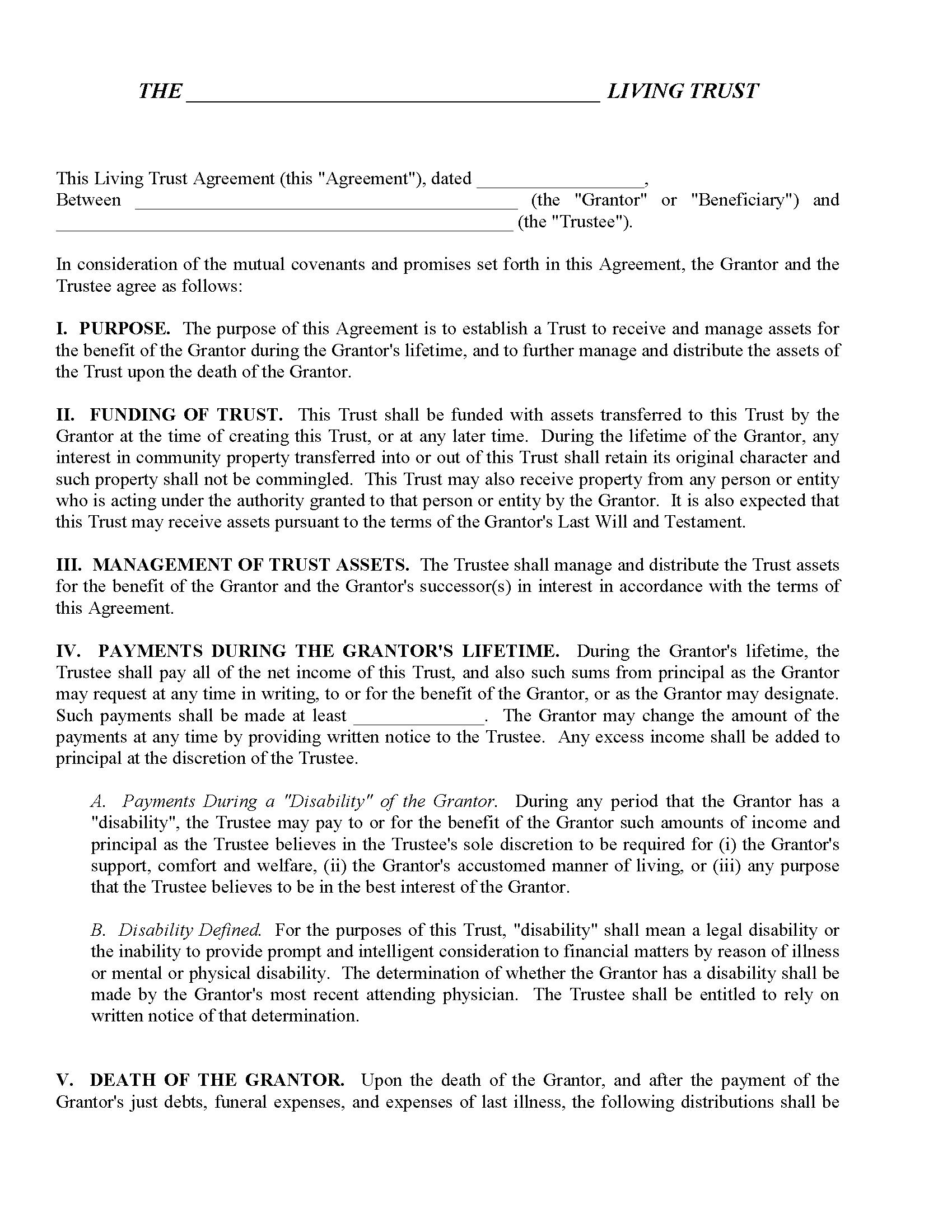 Declaration of Trust Form Fillable PDF Form