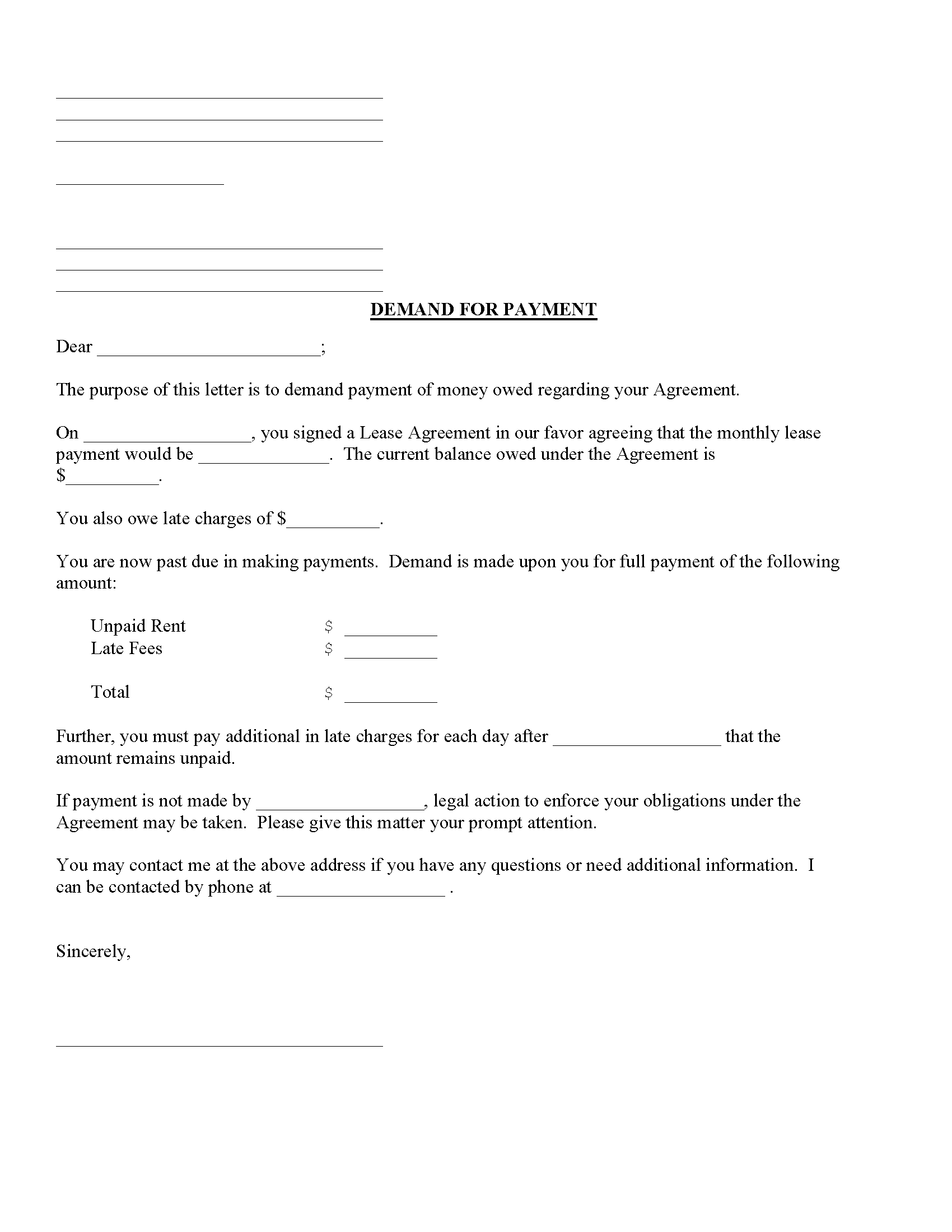 Demand For Lease Payment Fillable PDF Form