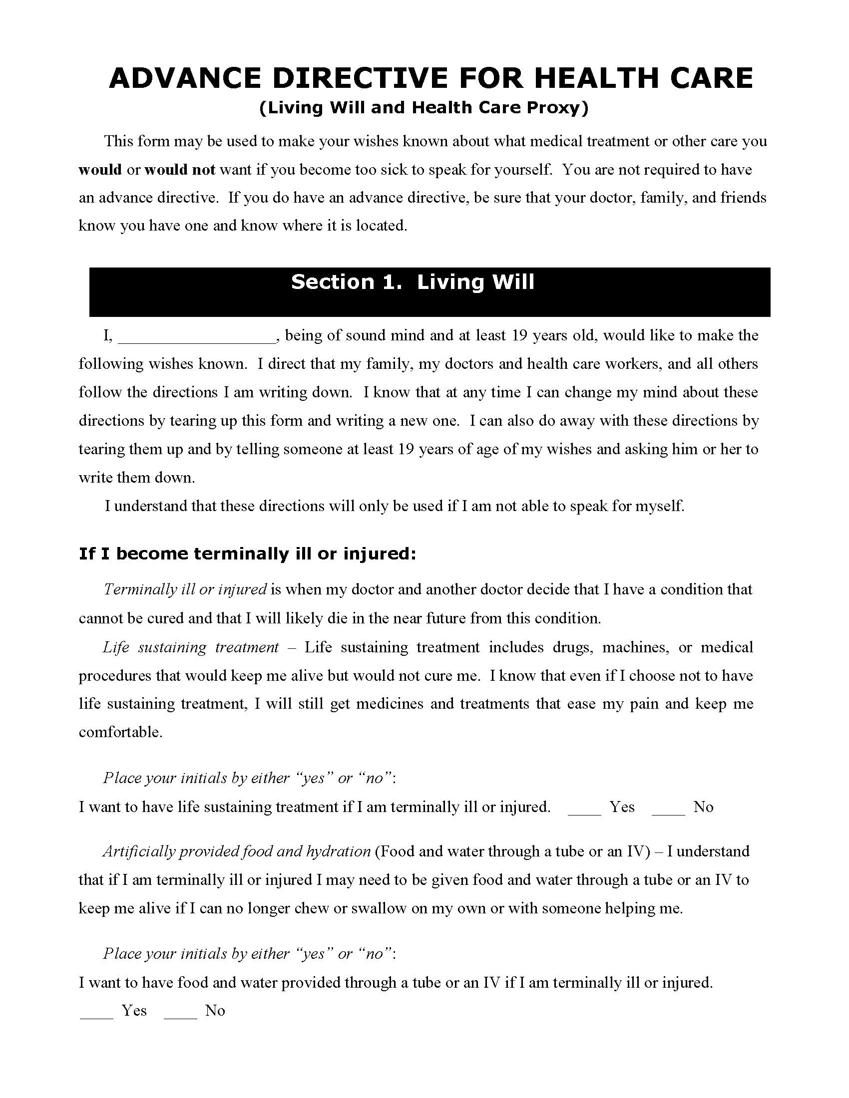 Georgia Living Will Fillable PDF Form