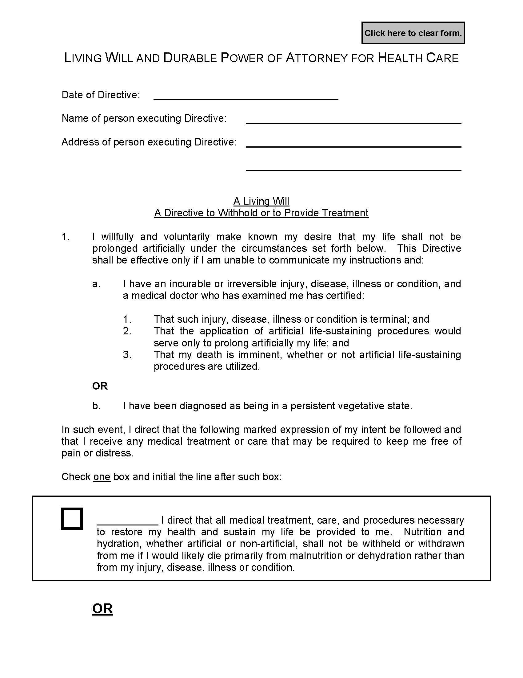 Idaho Living Will Fillable PDF Form