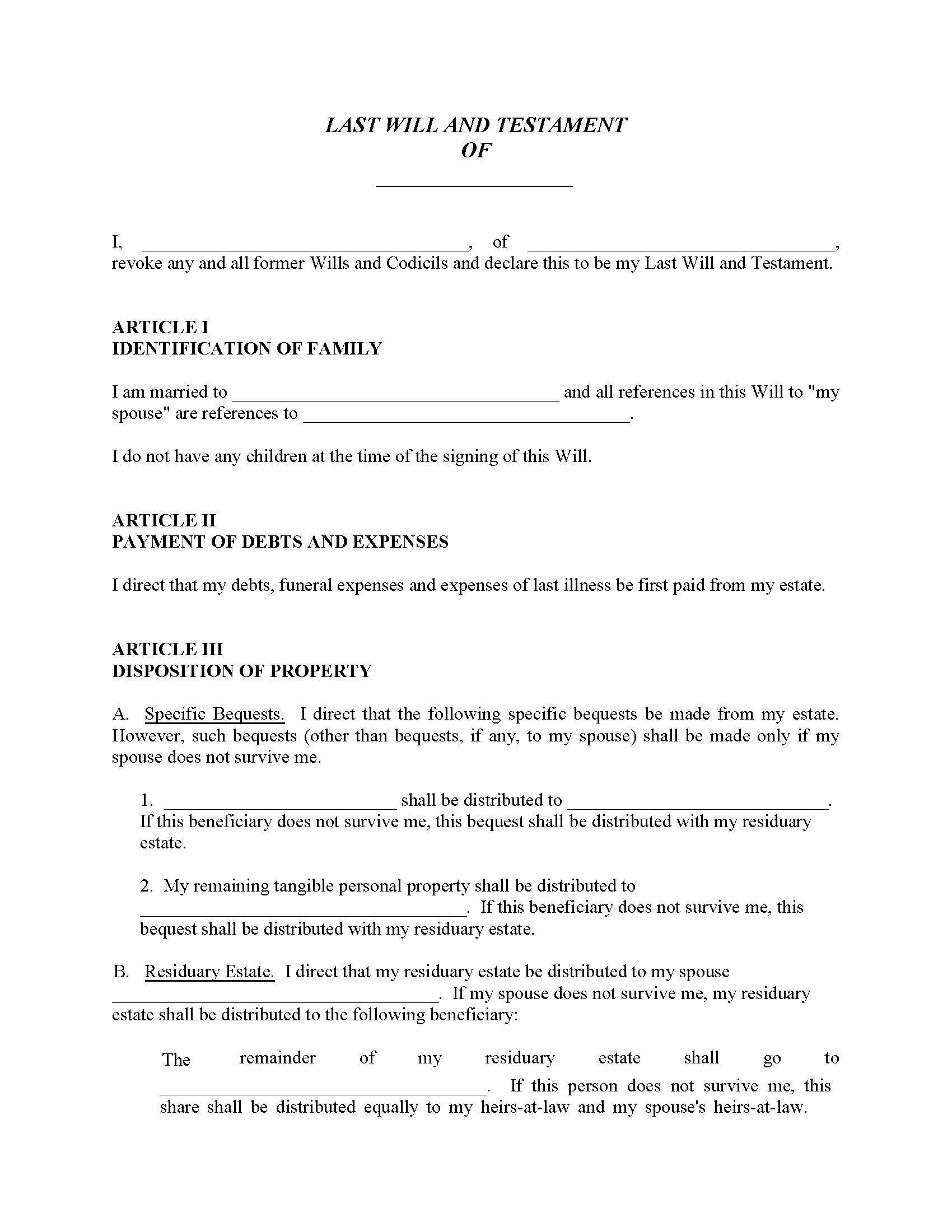 Idaho Will For Married With No Children Fillable PDF Form