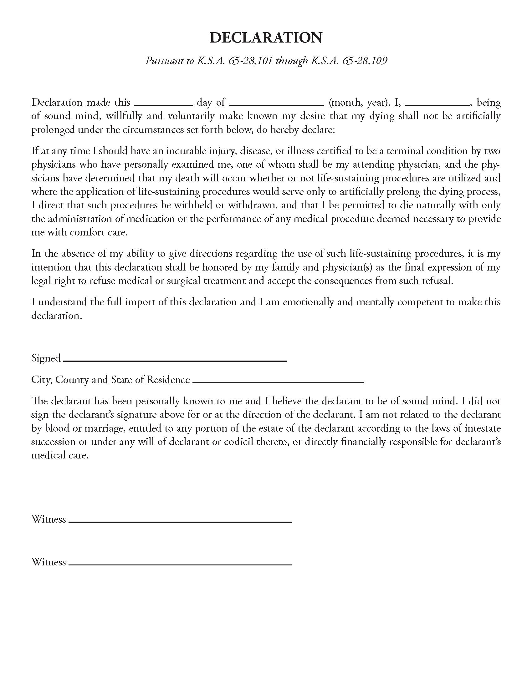 Kansas Living Will Fillable PDF Form