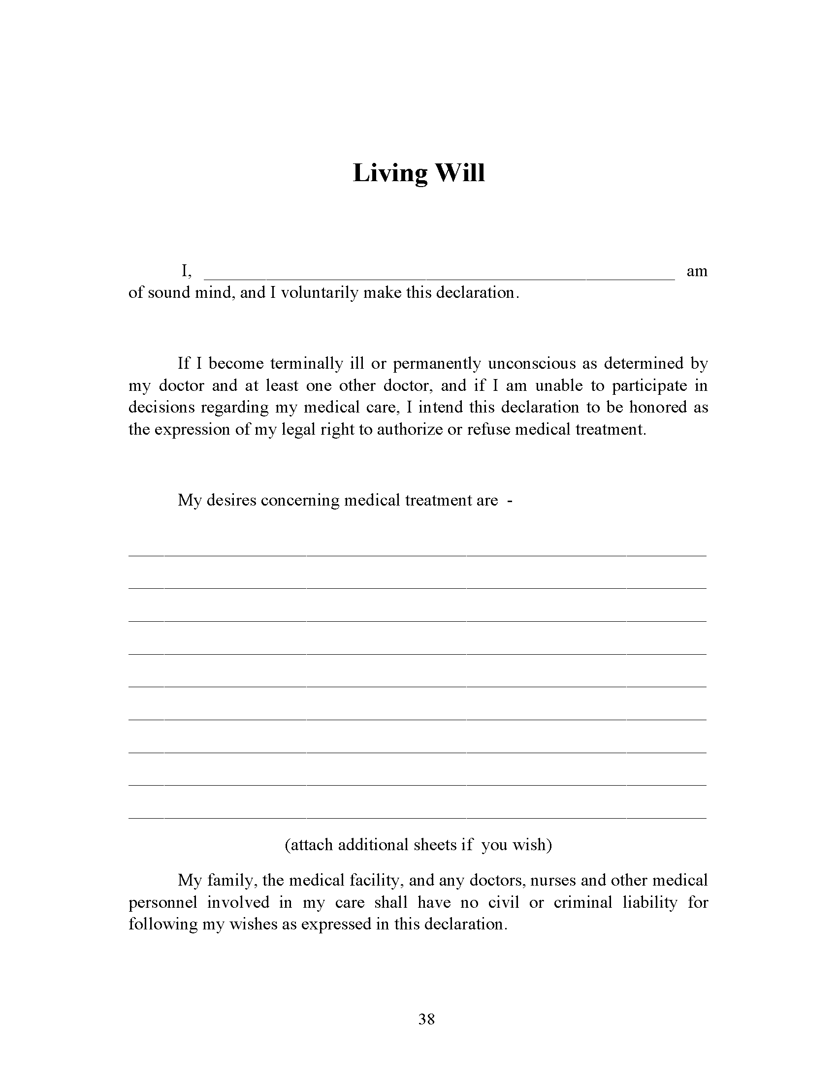 Michigan Living Will Fillable PDF Form