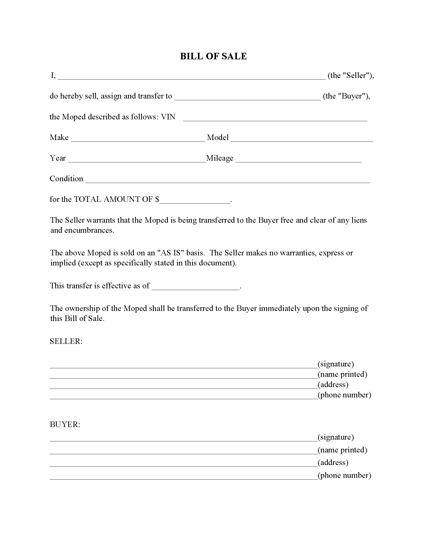 Moped Bill Of Sale Form Fillable Pdf Free Printable Legal Forms