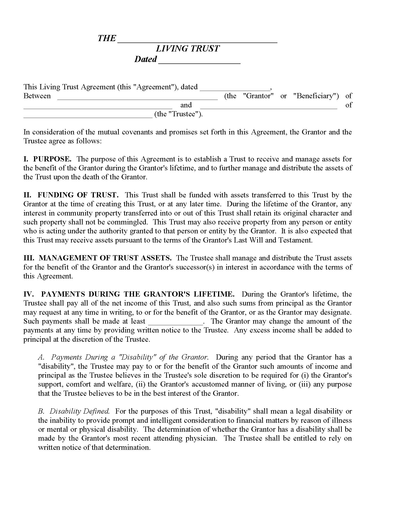 Revocable Living Trust Fillable PDF Form