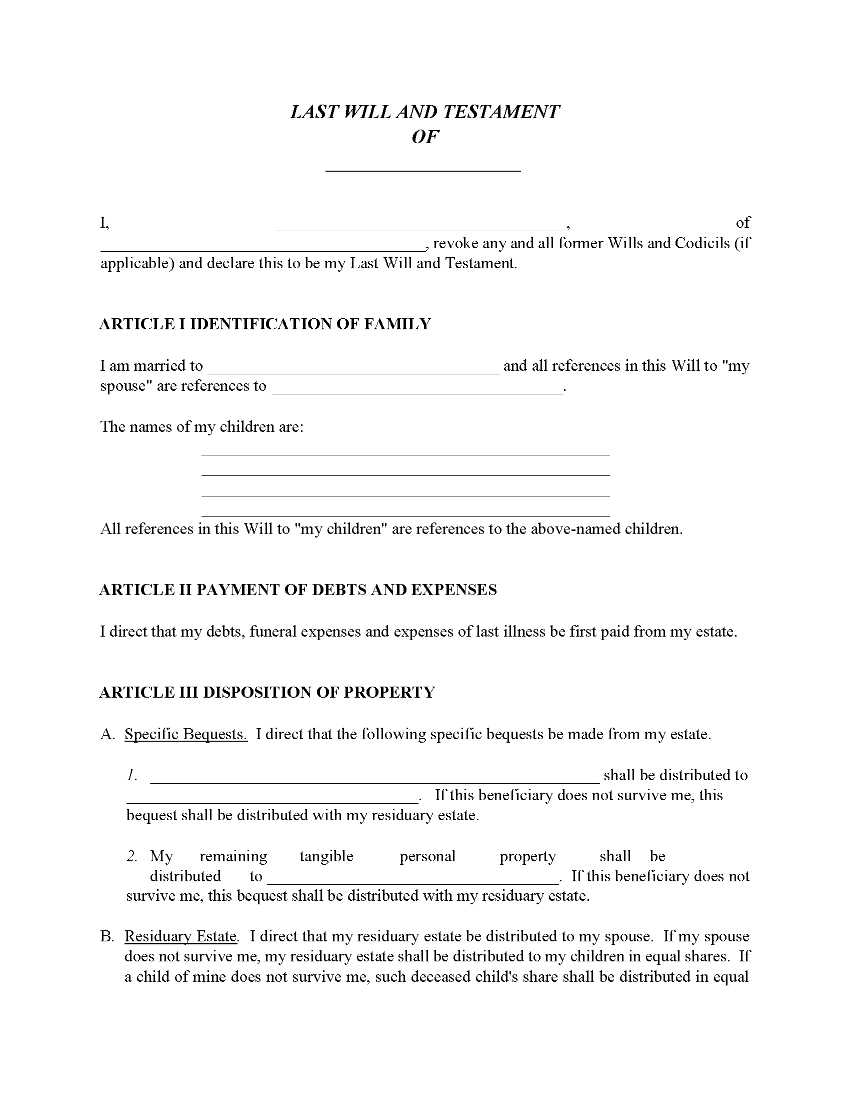Will For Married With Children Fillable PDF Form