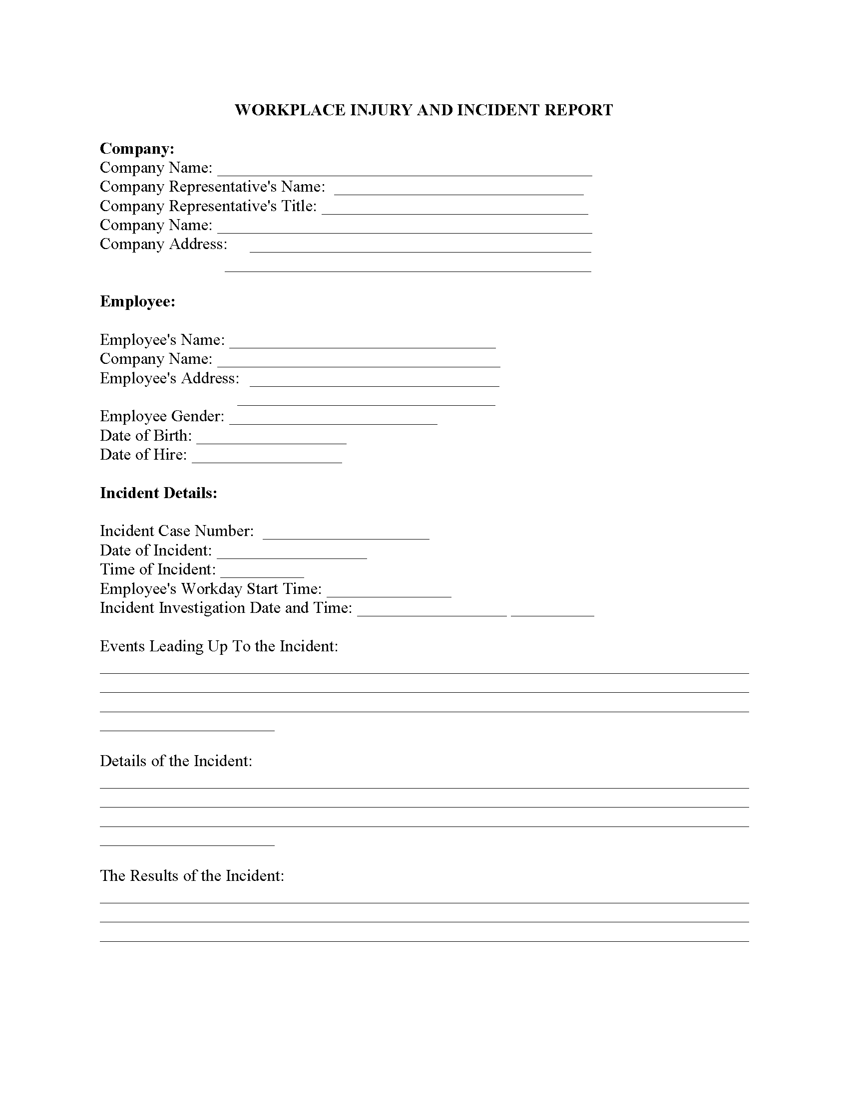 Work Injury Report Fillable PDF Form