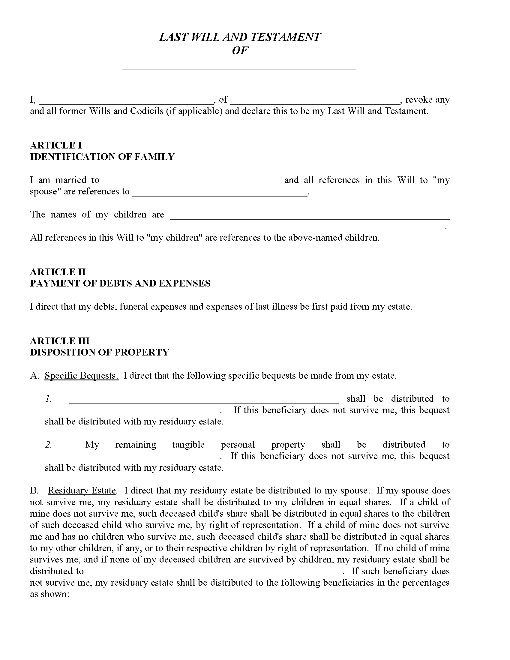 Free Wills Printable