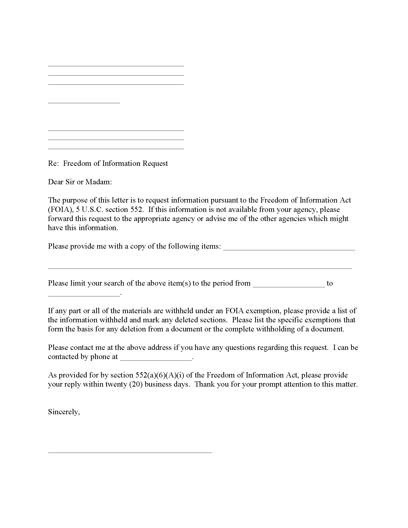Freedom of Information Records Request Form