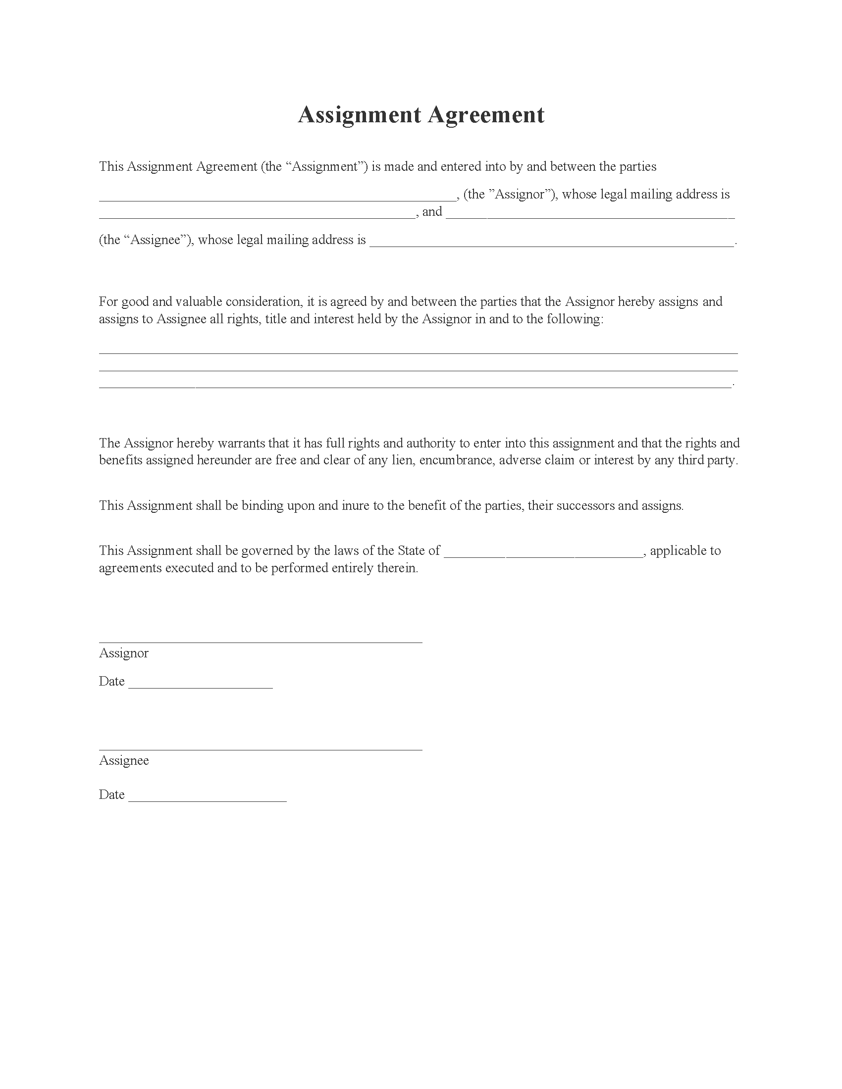 General Assignment Agreement