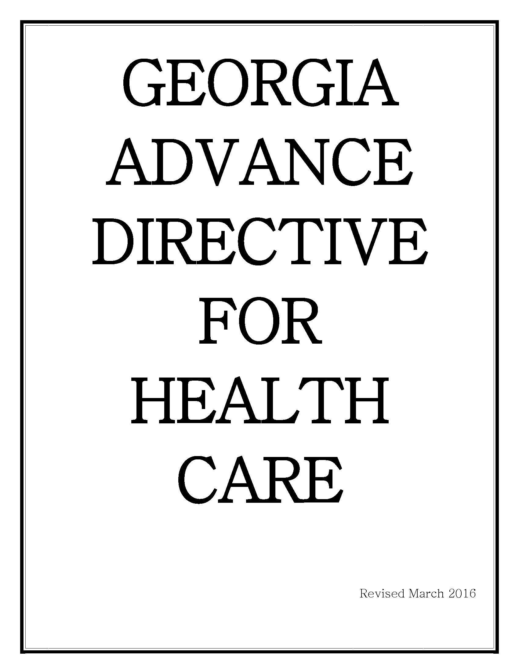 Georgia Advance Directive For Health Care