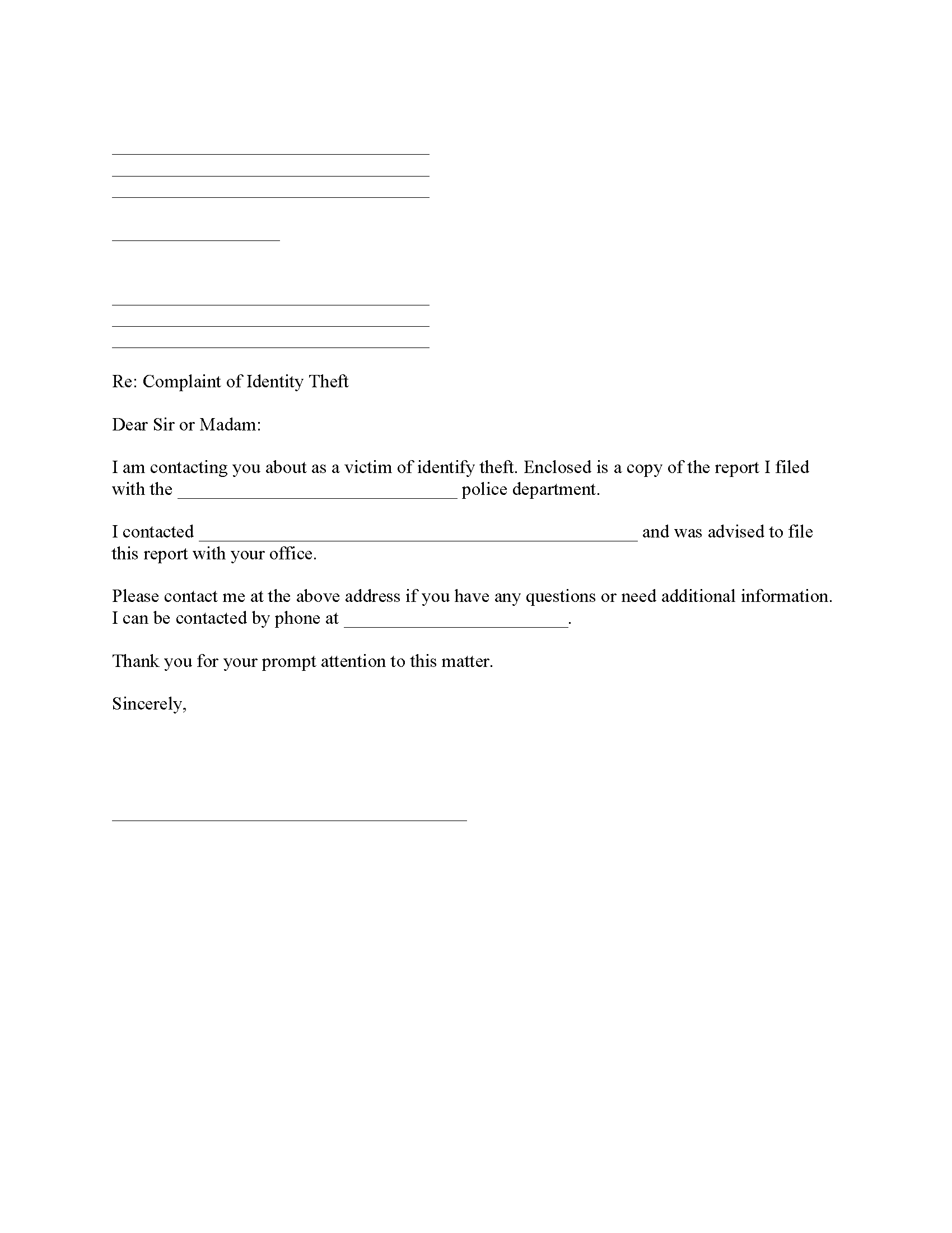 Identity Theft Complaint To Attorney General