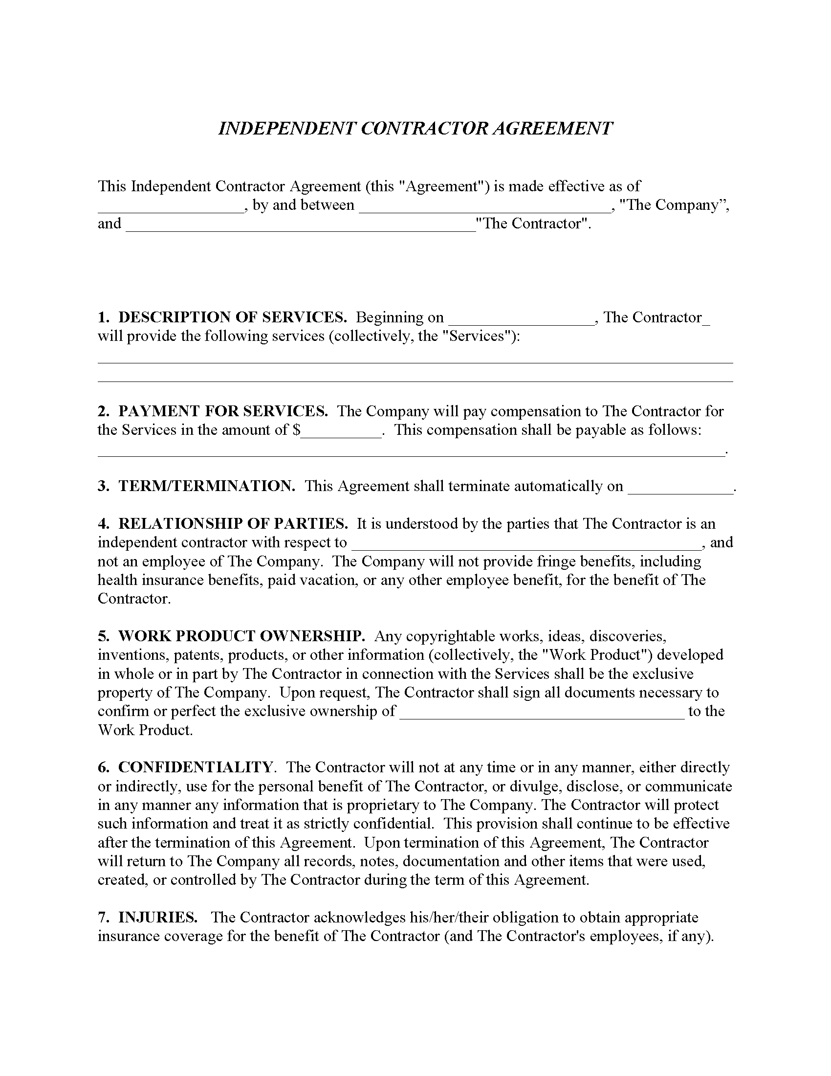 Independent Contractor Agreement Forms