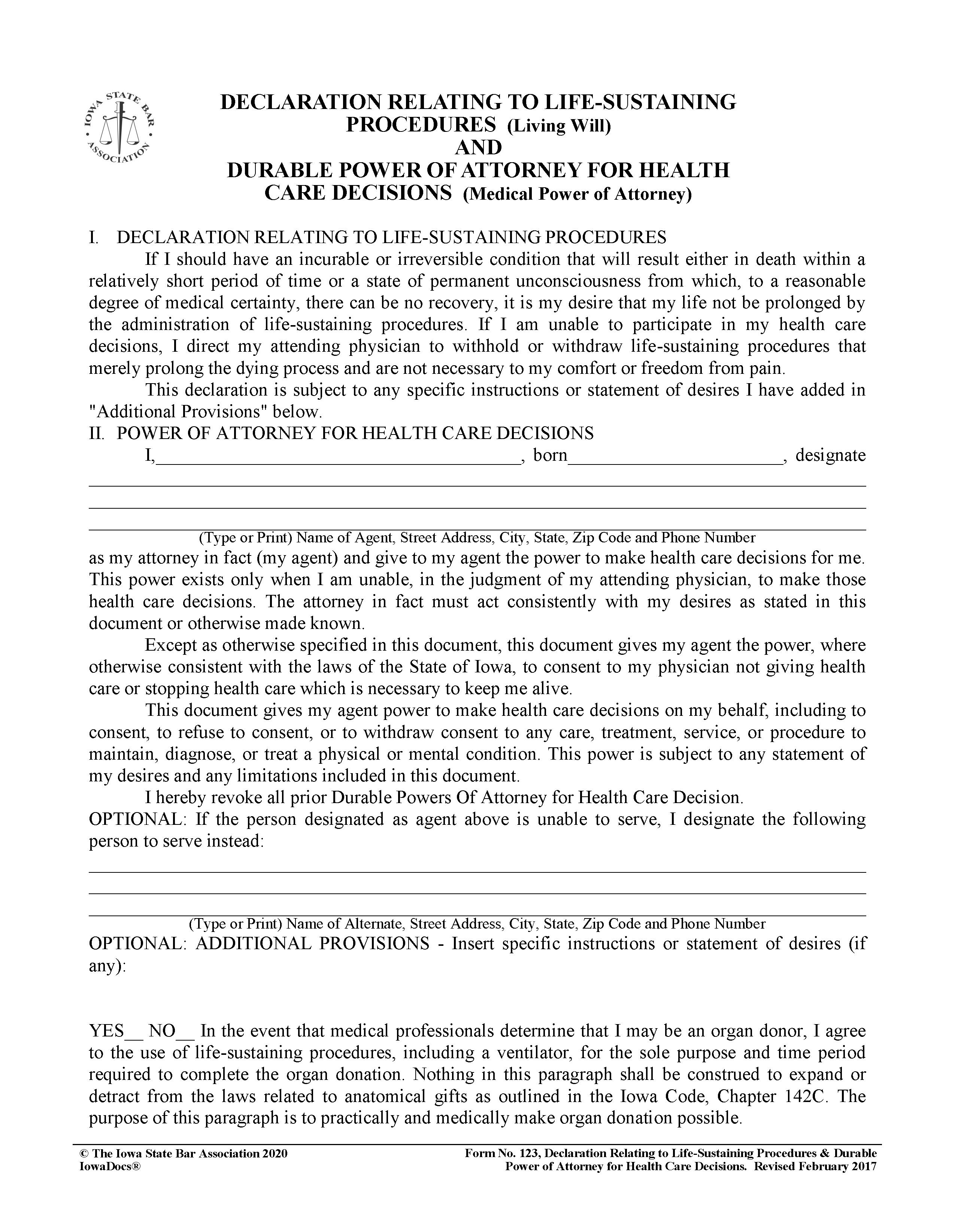 Iowa Advance Directive For Health Care