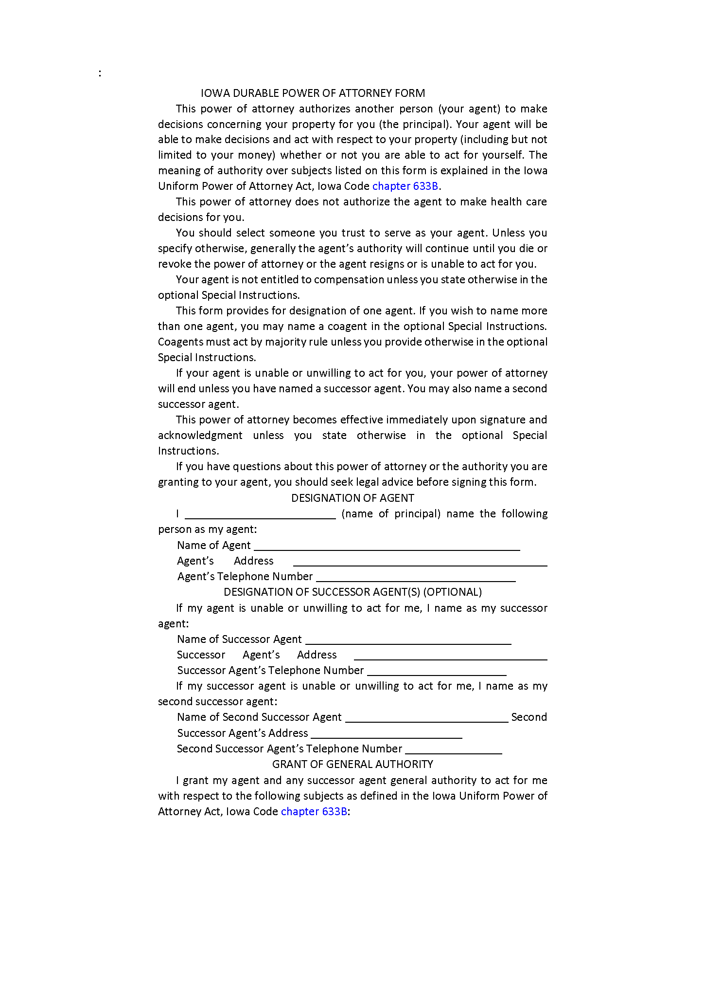 Iowa Durable Power of Attorney Form