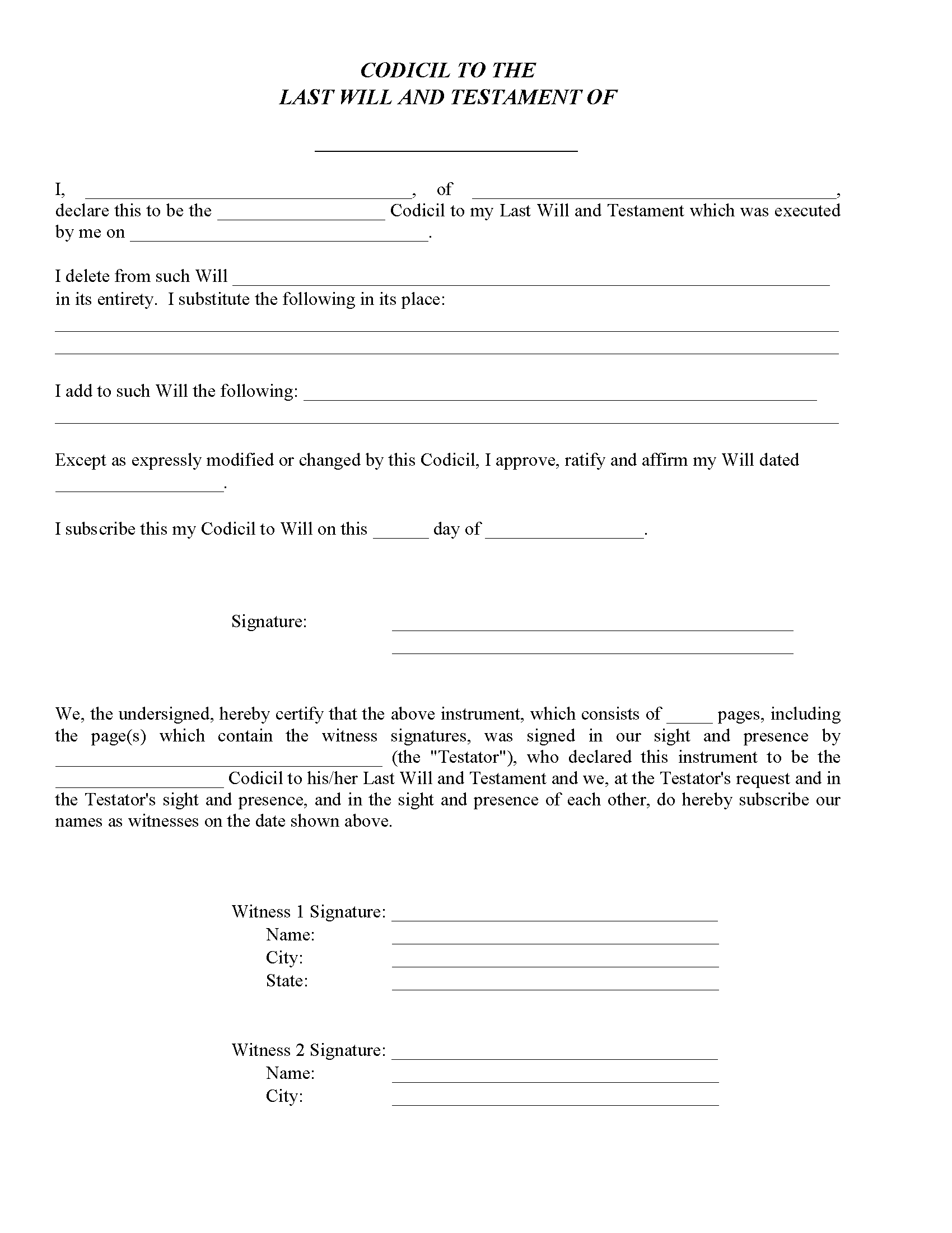 Kentucky Codicil To Will Form