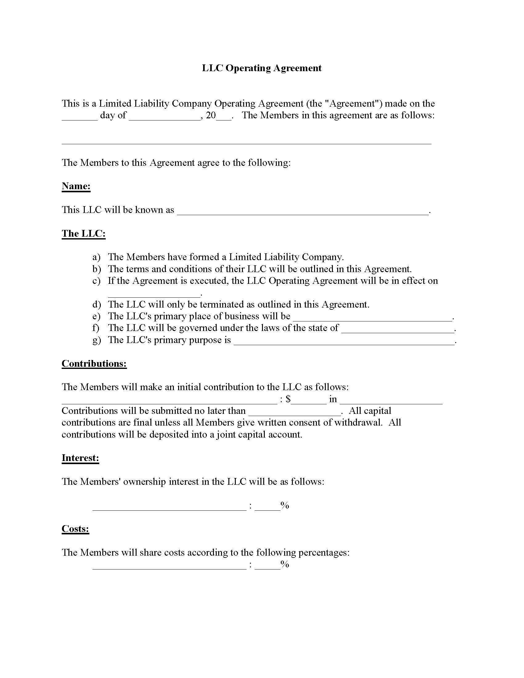 LLC Operating Agreement Form