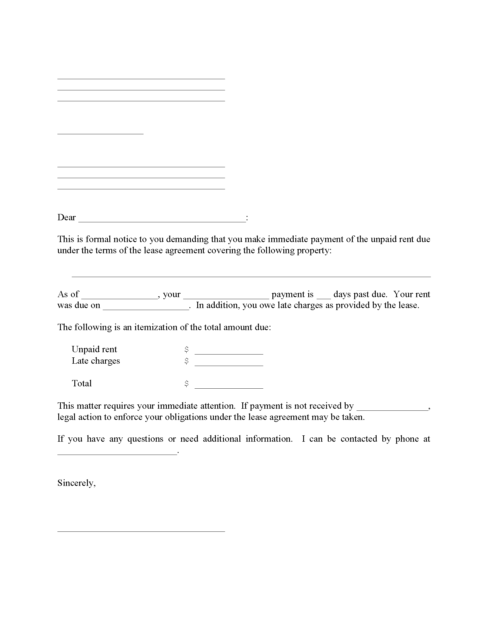 Late Lease Payment Notice Form