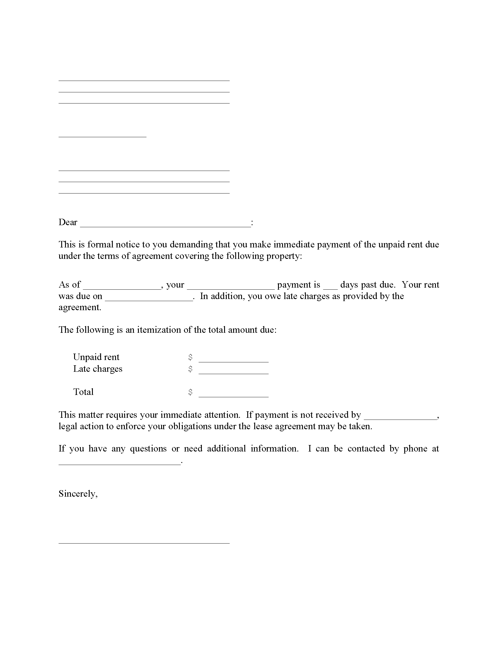 Late Rent Payment Notice Form